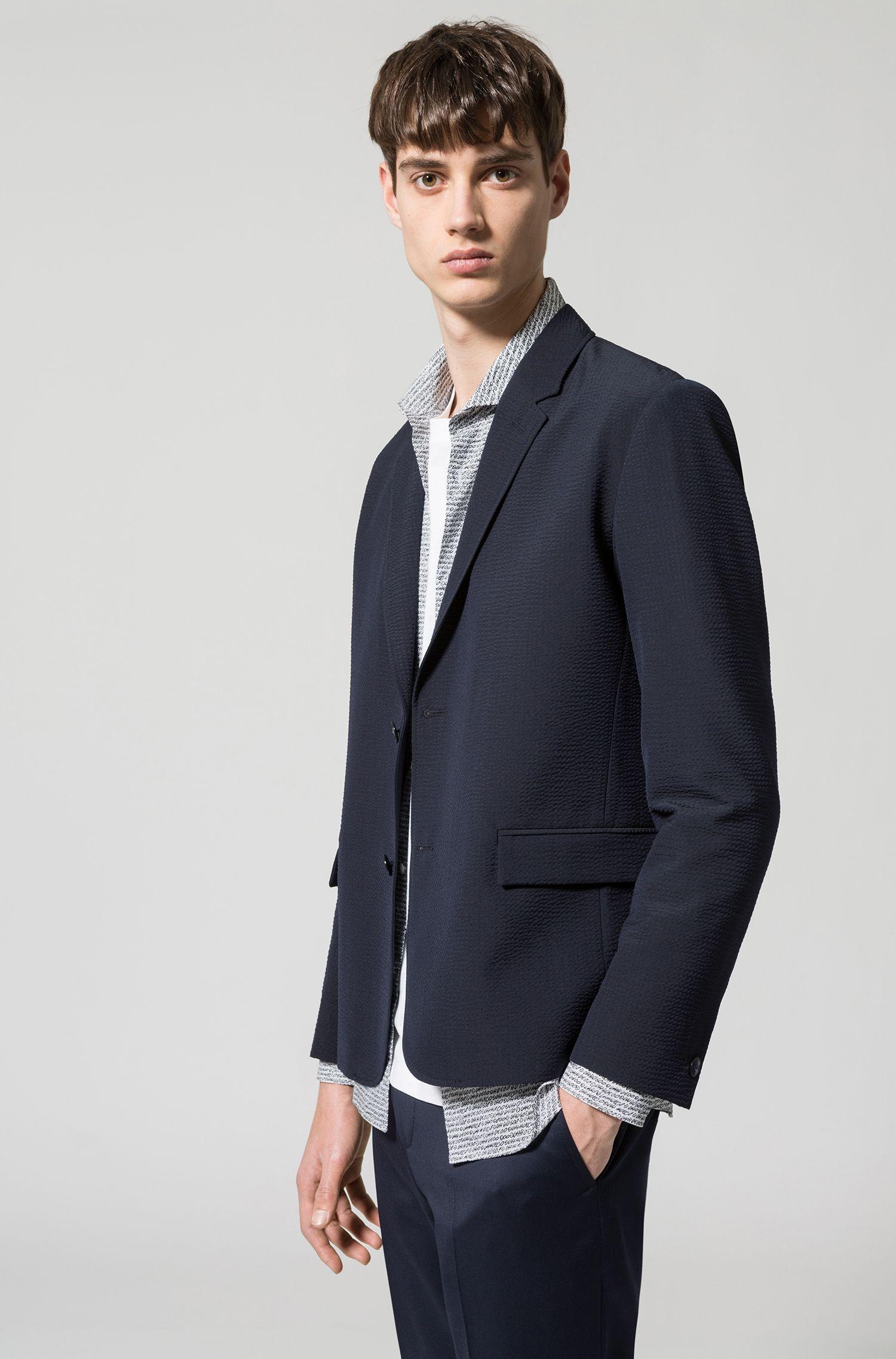 Slim-fit blazer in yarn-dyed seersucker