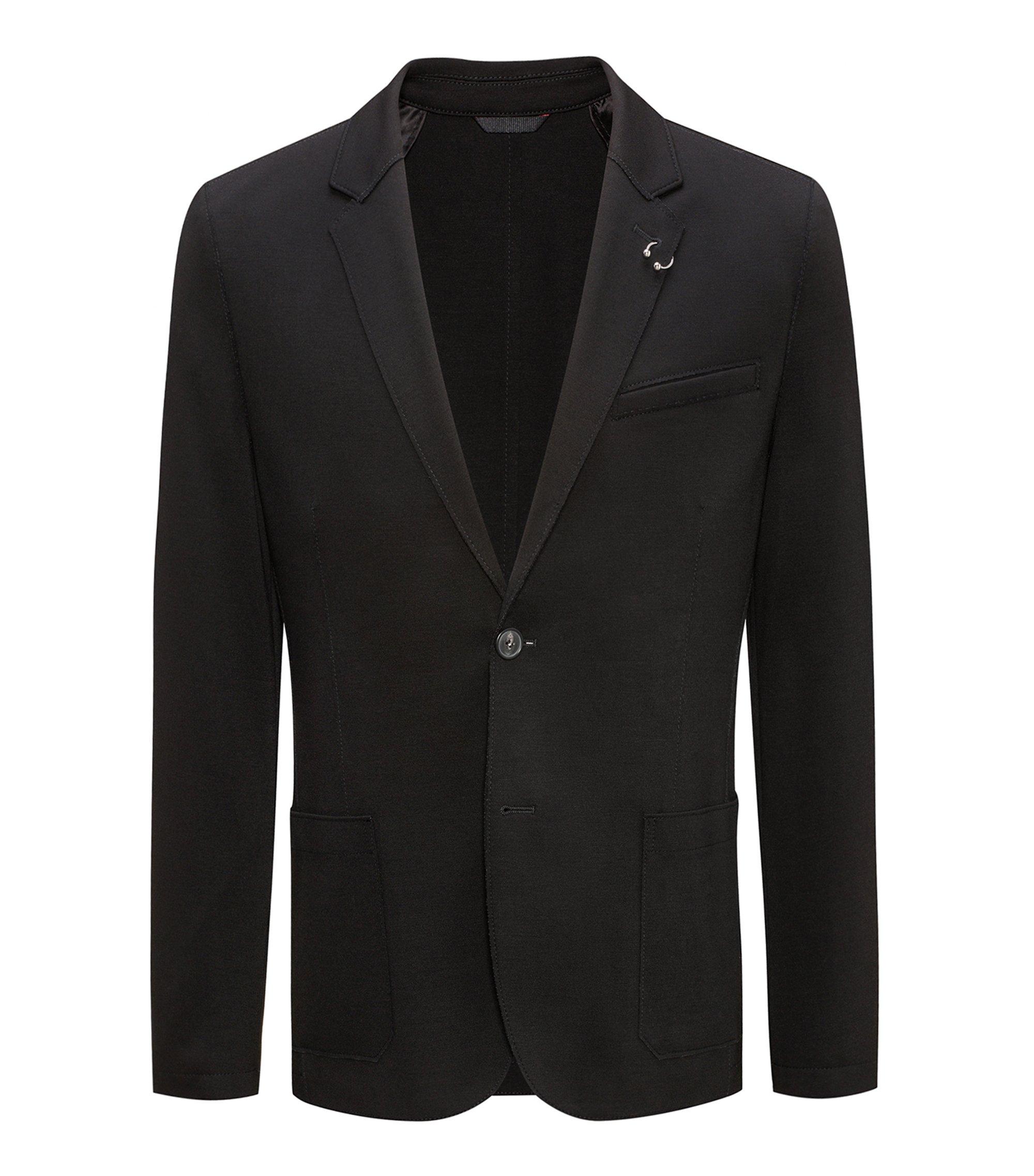 Open Cut Jersey, Extra Slim Fit   'Ardis', Black