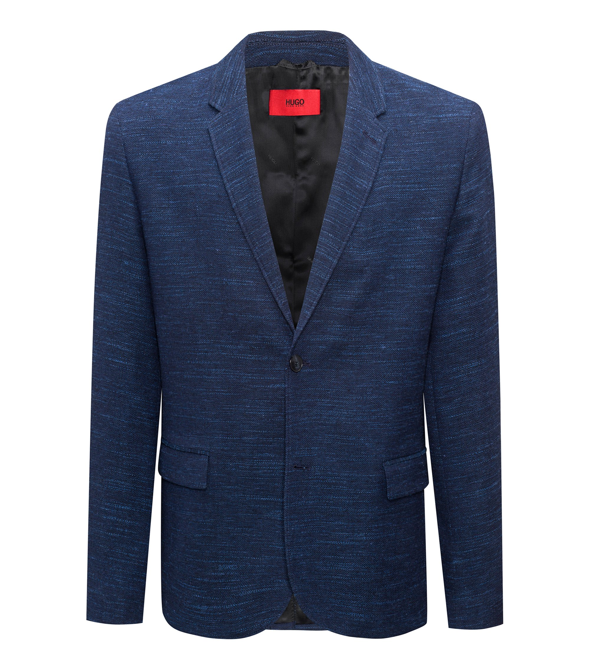 Slim-fit blazer in a yarn-dyed virgin-wool blend, Dark Blue