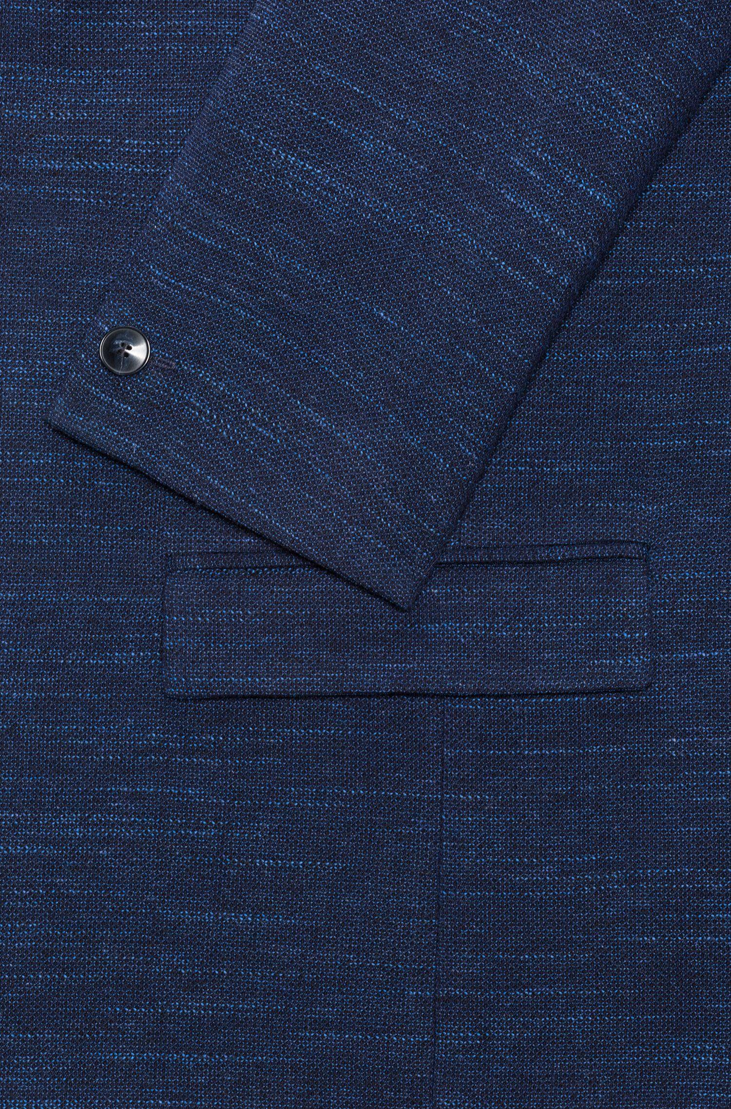 Slim-fit blazer in a yarn-dyed virgin-wool blend, Dark Blue