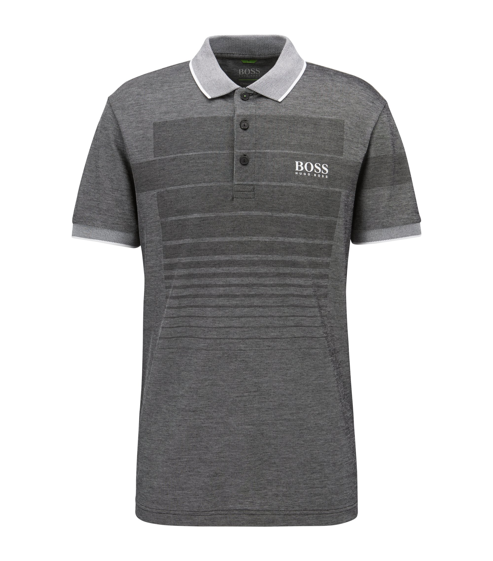 Cotton-blend patterned polo shirt with contrast piqué collar, Black