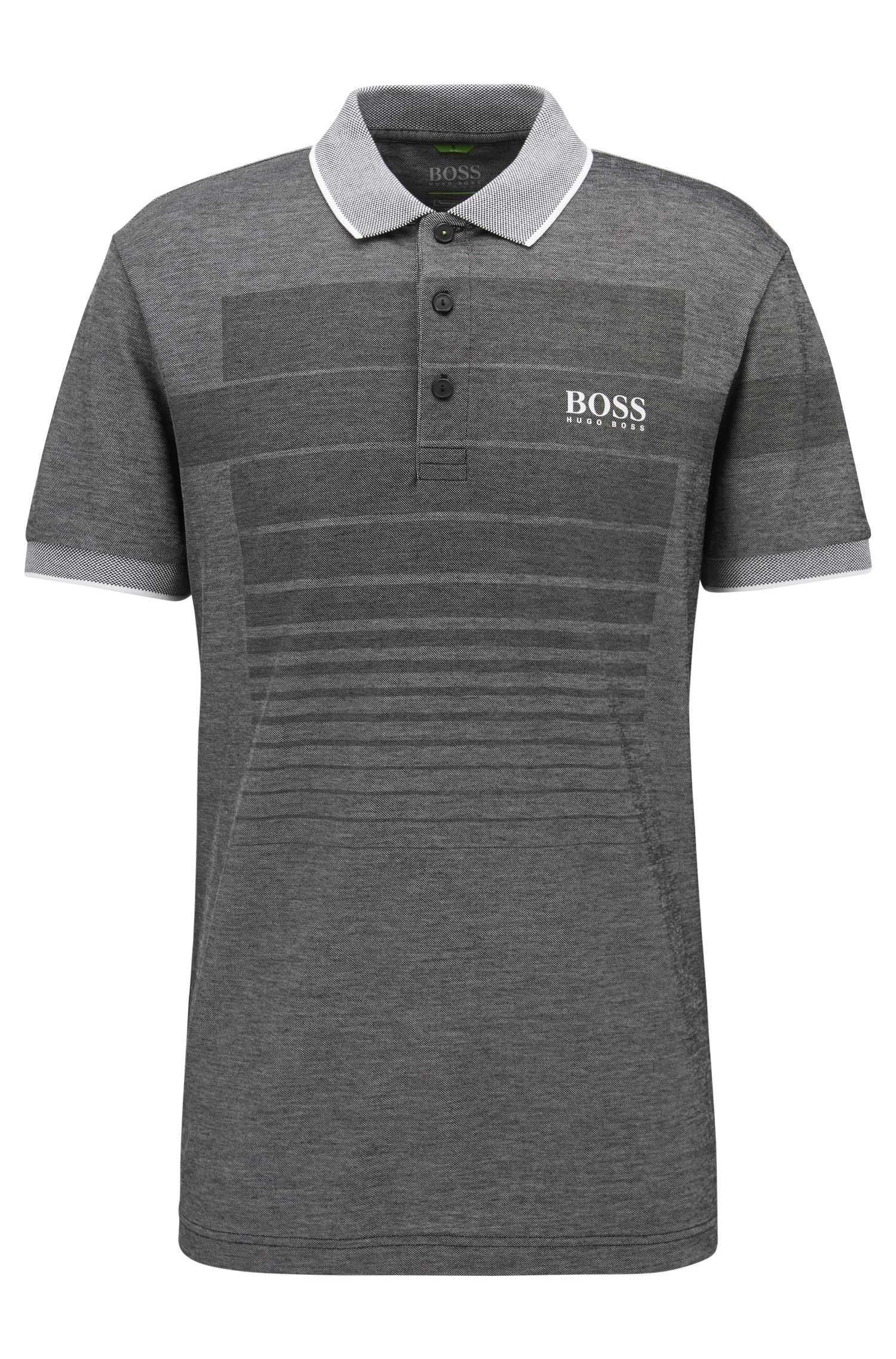 Cotton-blend patterned polo shirt with contrast piqué collar