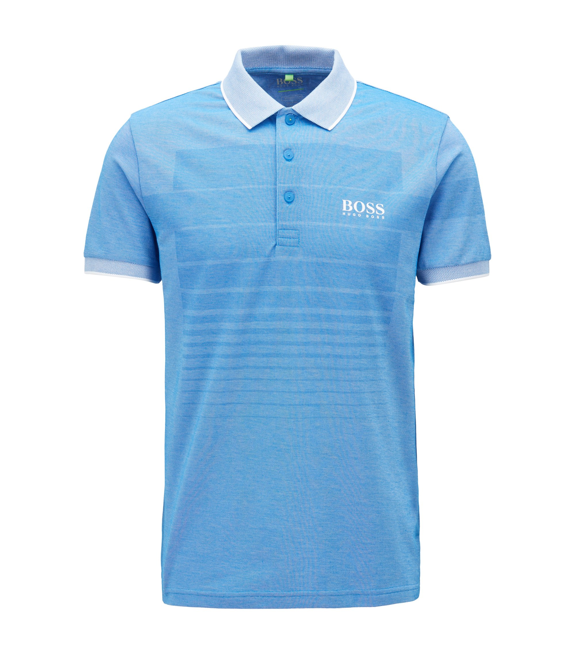 Cotton-blend patterned polo shirt with contrast piqué collar, Blue