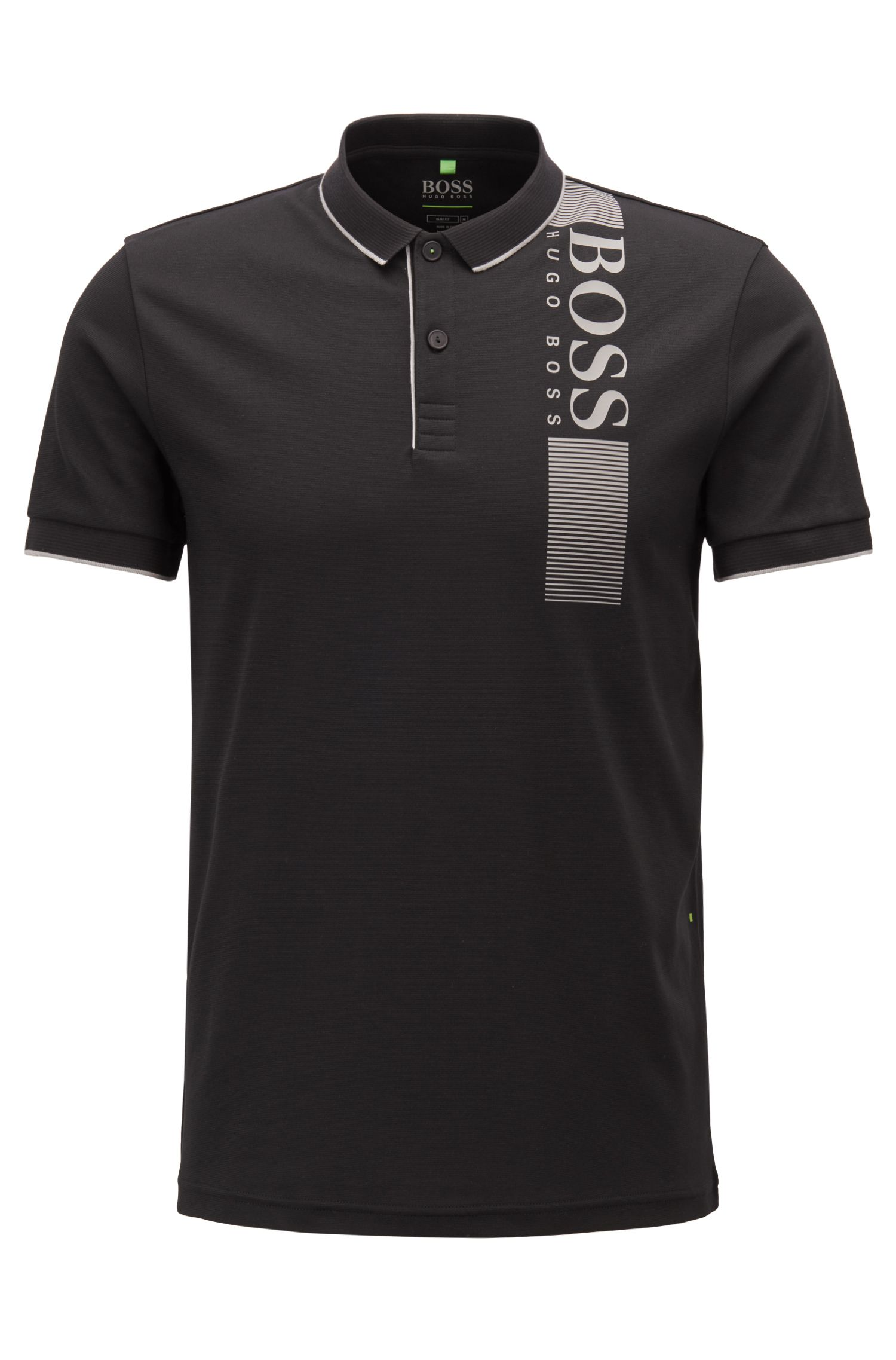 Slim-fit polo shirt with moisture management , Black