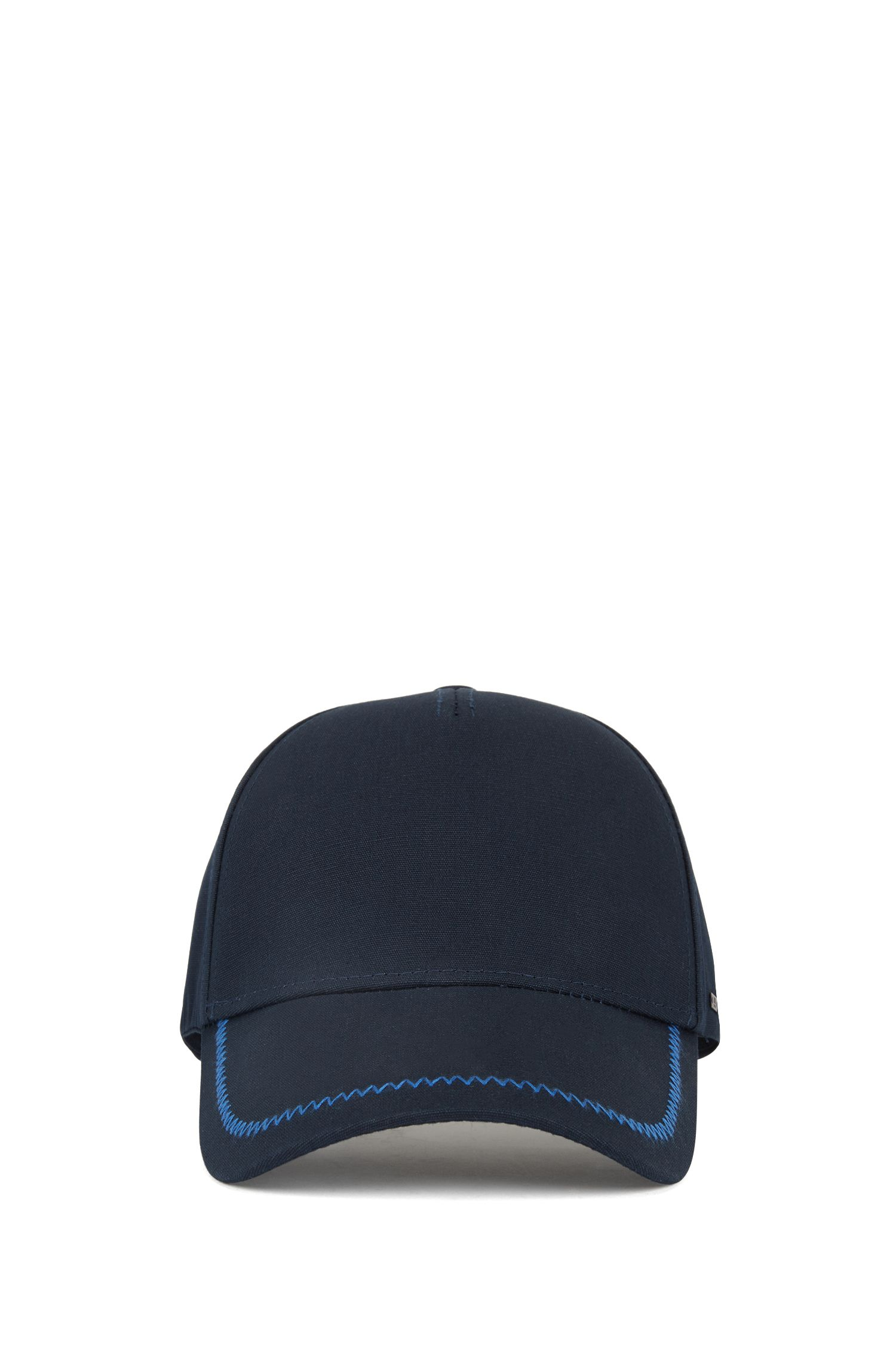 Cotton cap with zigzag stitching, Open Blue