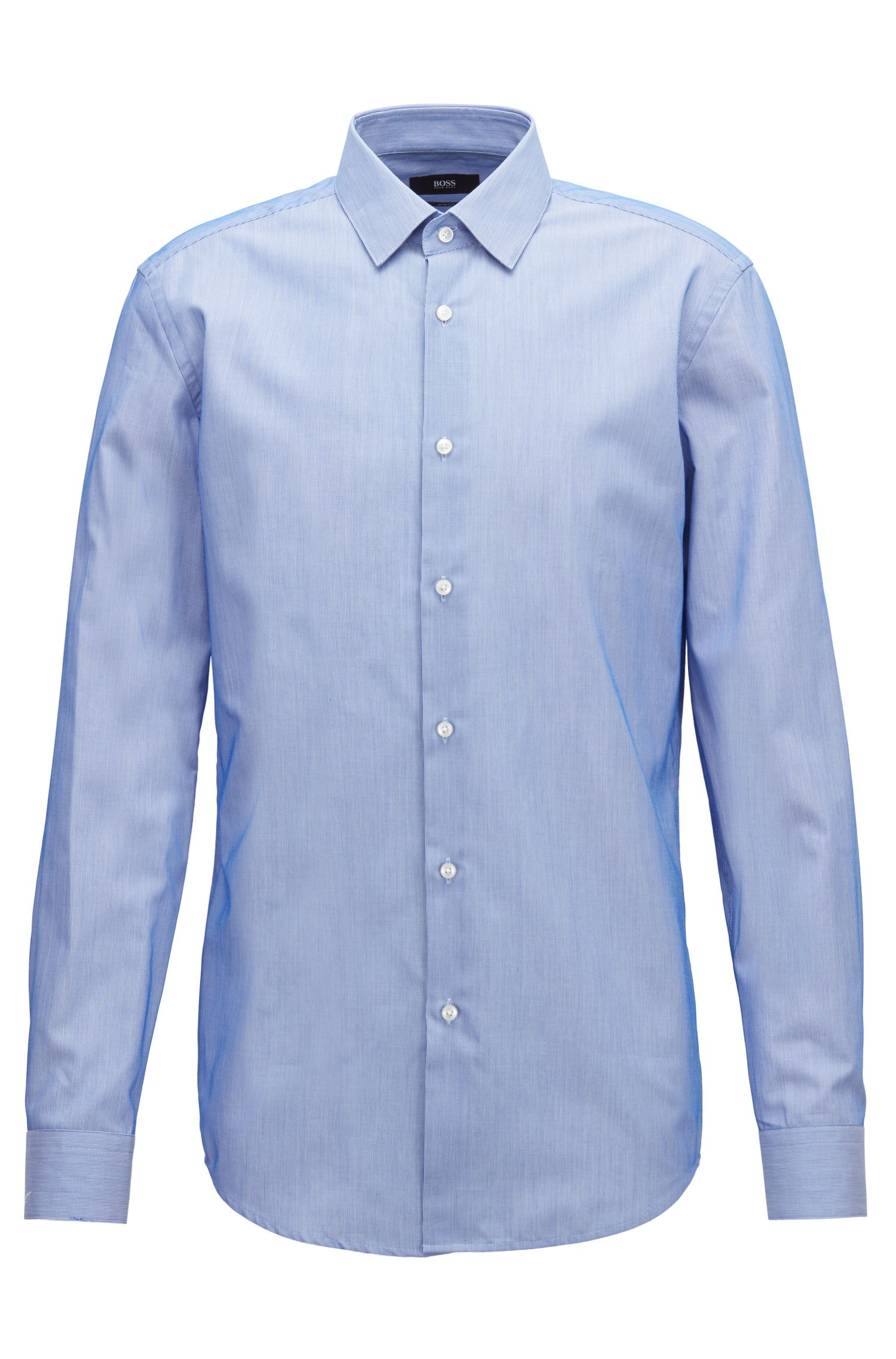 Slim-fit shirt in striped dobby cotton