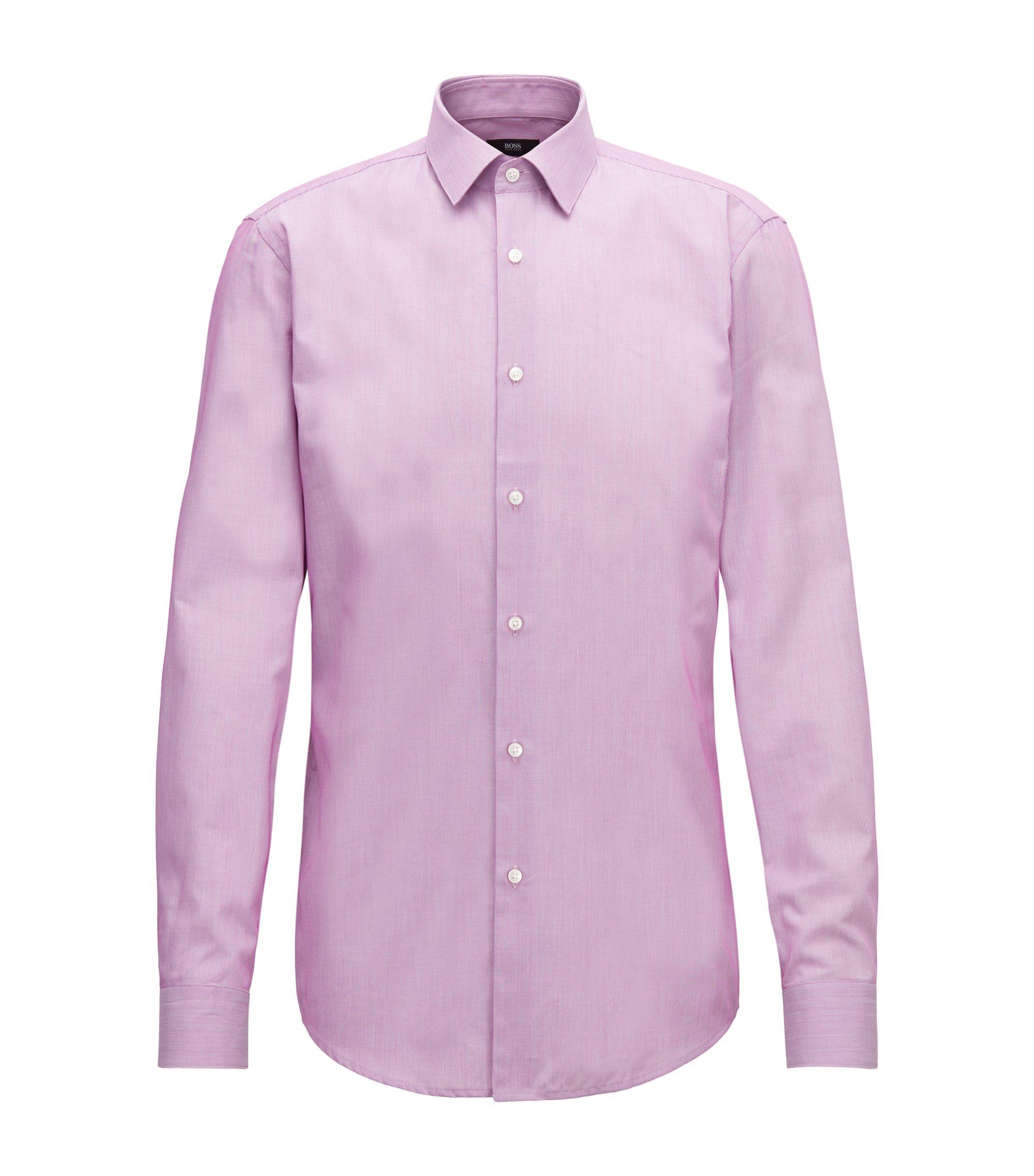 Slim-fit shirt in striped dobby cotton, Dark pink