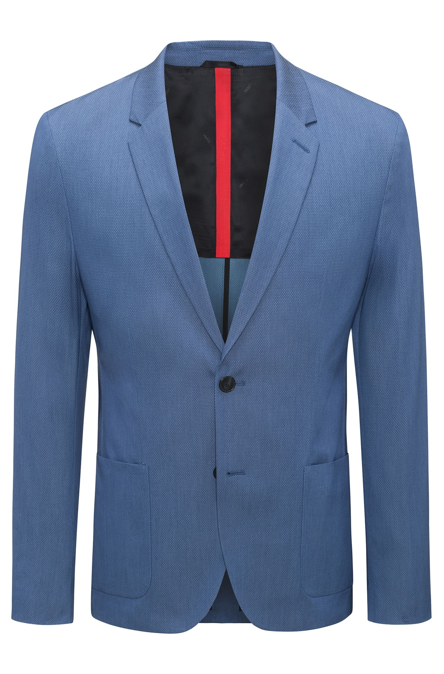 Slim-fit blazer in a yarn-dyed stretch-cotton blend , Turquoise