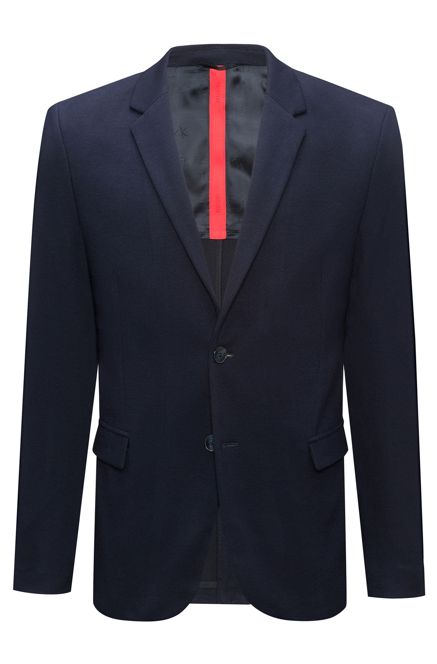 Slim-fit tailored jacket with reverse lapels, Dark Blue