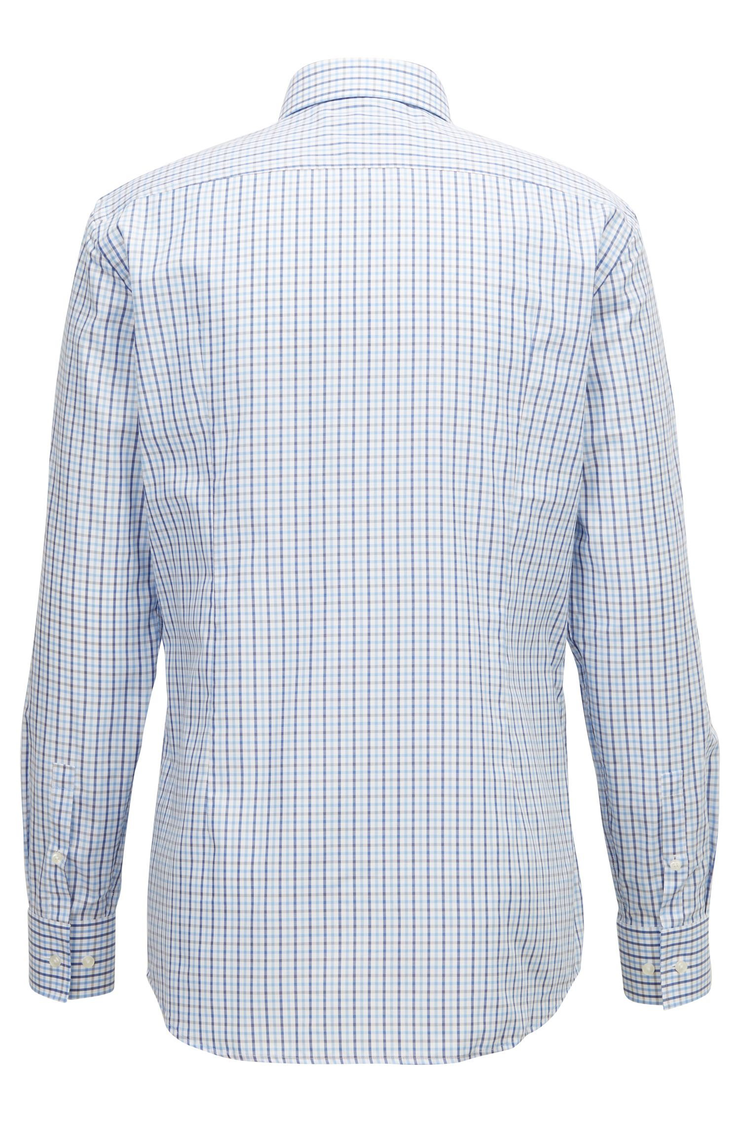 Slim-fit shirt in three-colored gingham check pattern, Open Blue