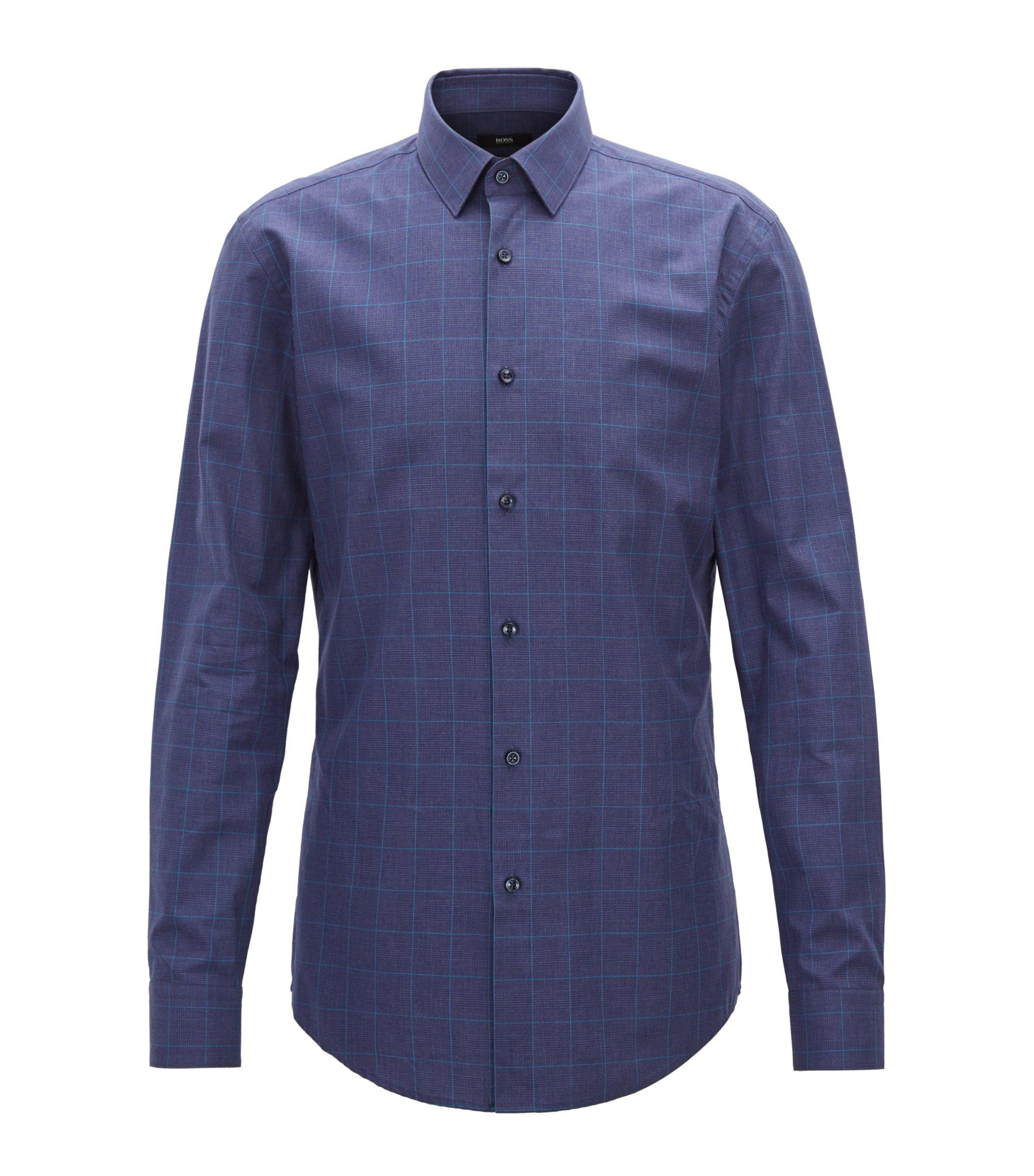 Slim-fit shirt in Glen-check melange cotton, Dark Blue