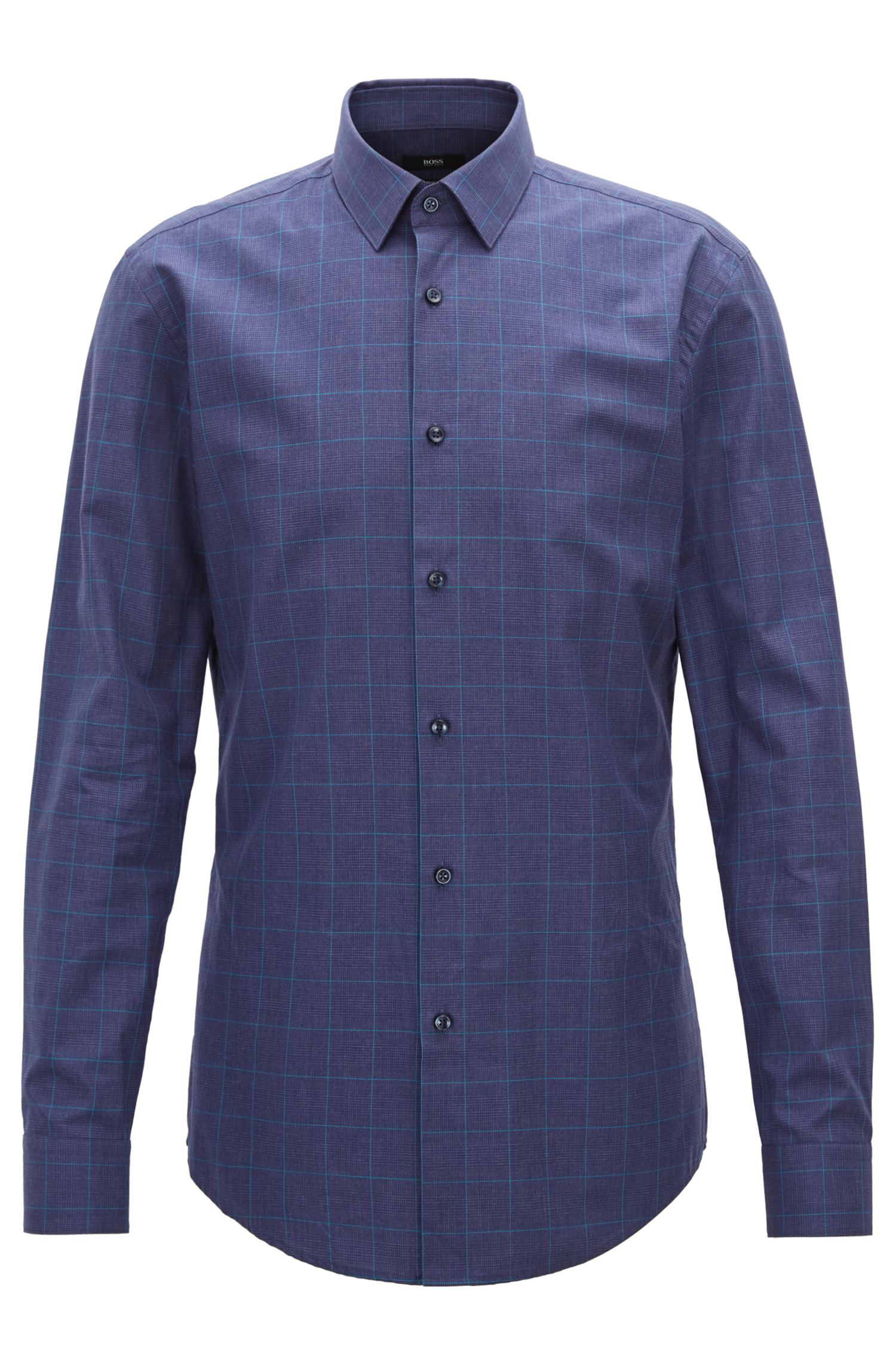 Slim-fit shirt in Glen-check melange cotton, Dark Blue