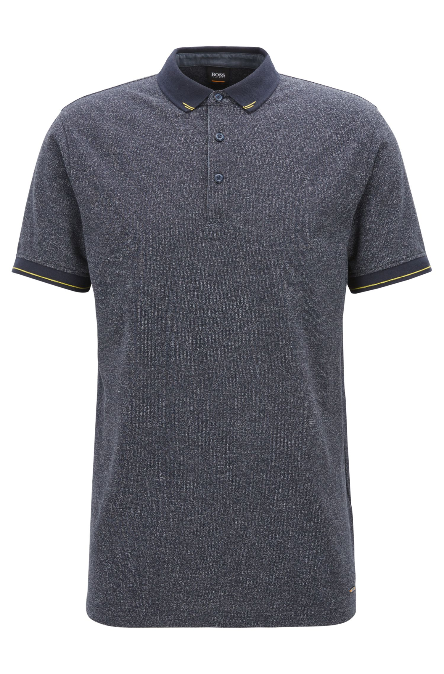 Denim-look polo shirt with contrast details, Dark Blue