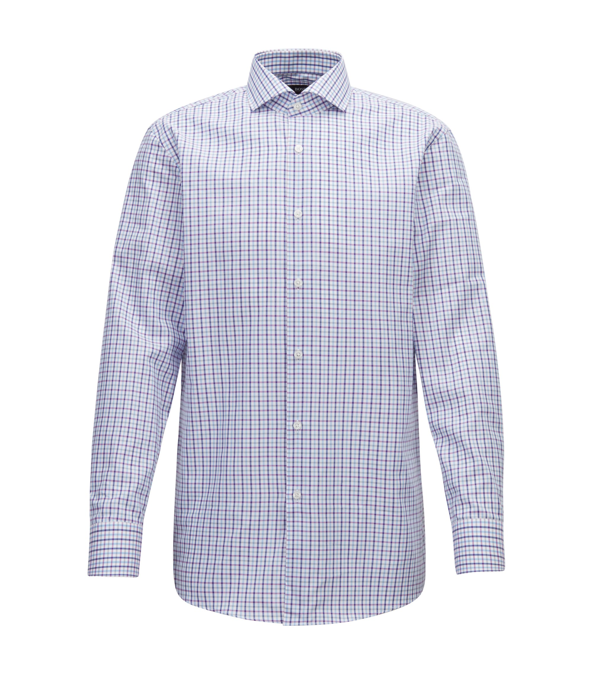 Slim-fit shirt in Oxford cotton with gingham check, Dark pink