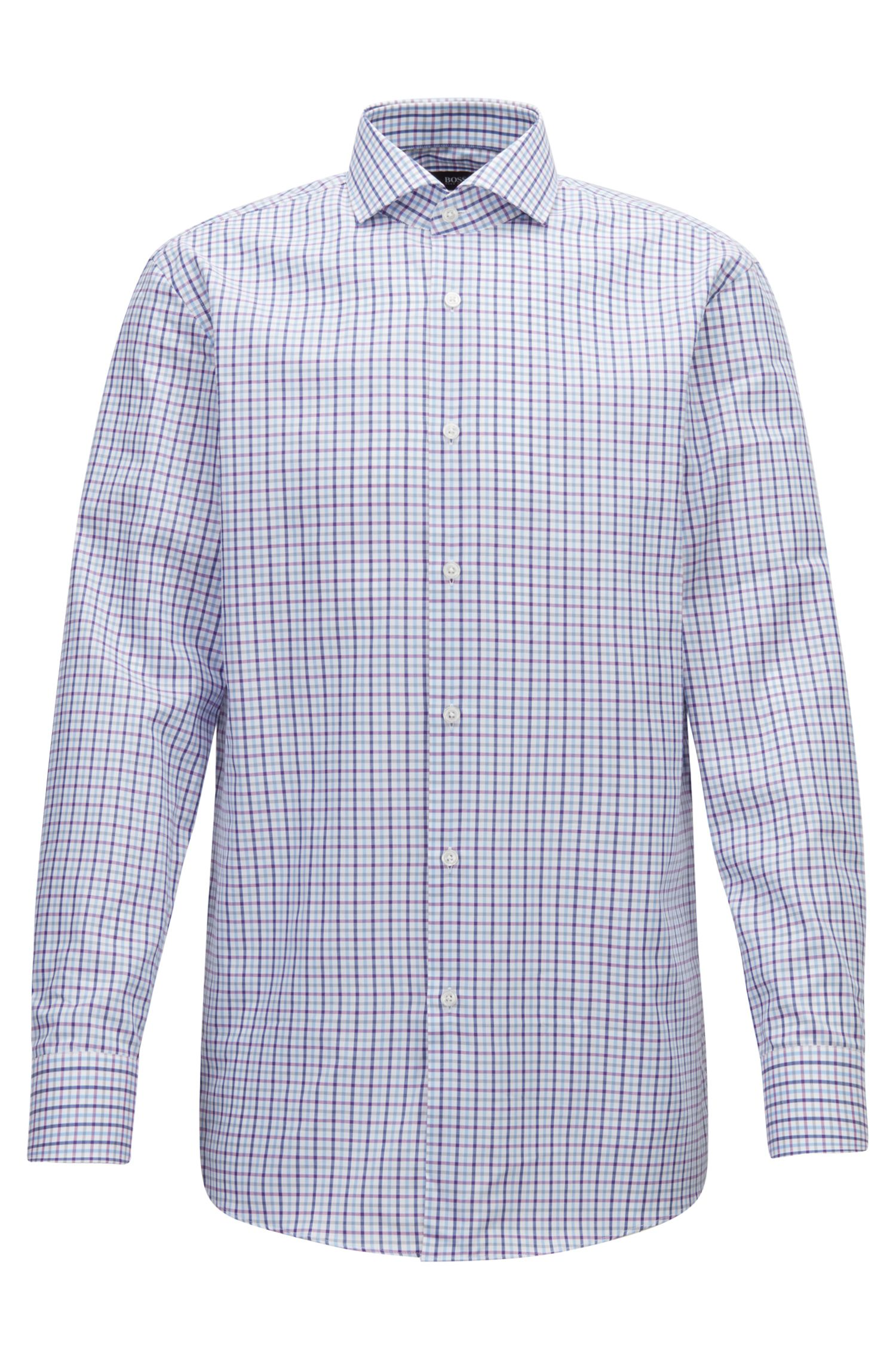 Slim-fit checked shirt in pure Oxford cotton BOSS
