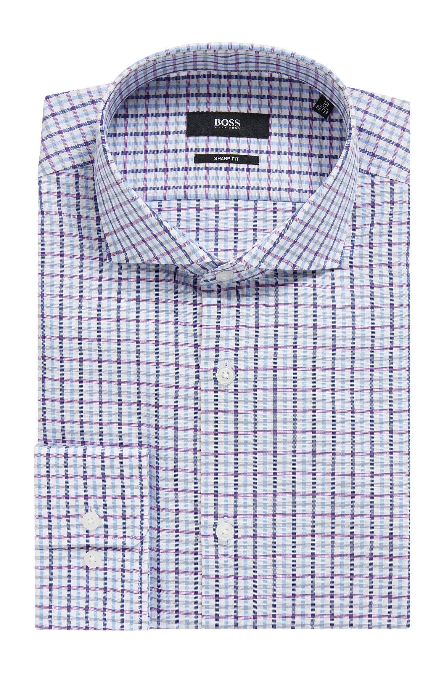 Slim-fit shirt in Oxford cotton with gingham check
