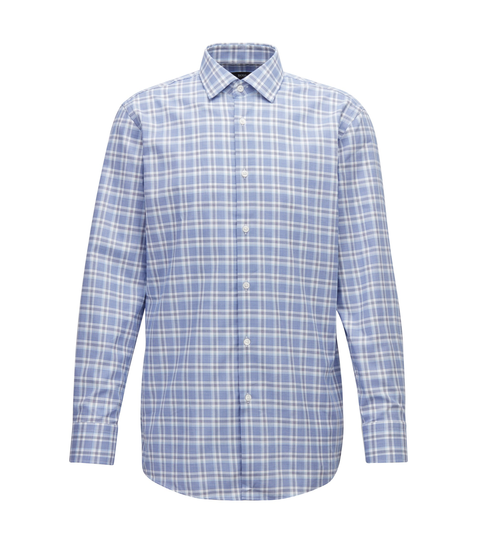 Slim-fit shirt in Glen-check cotton twill, Open Blue