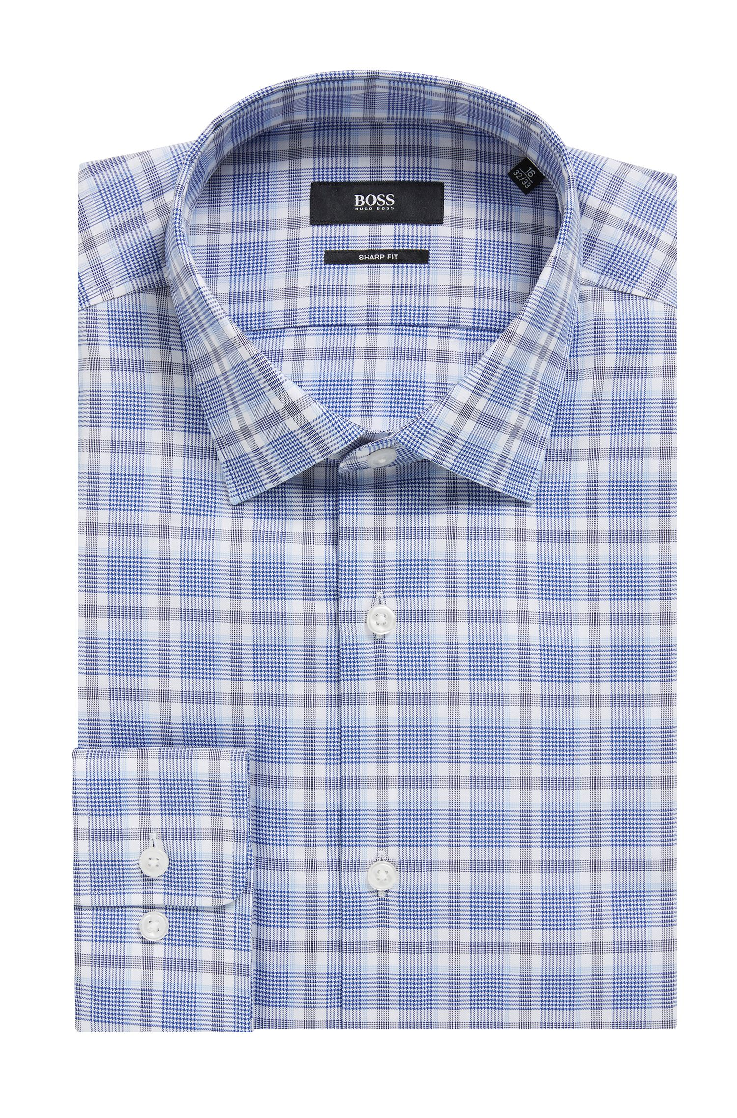 Slim-fit shirt in Glen-check cotton twill