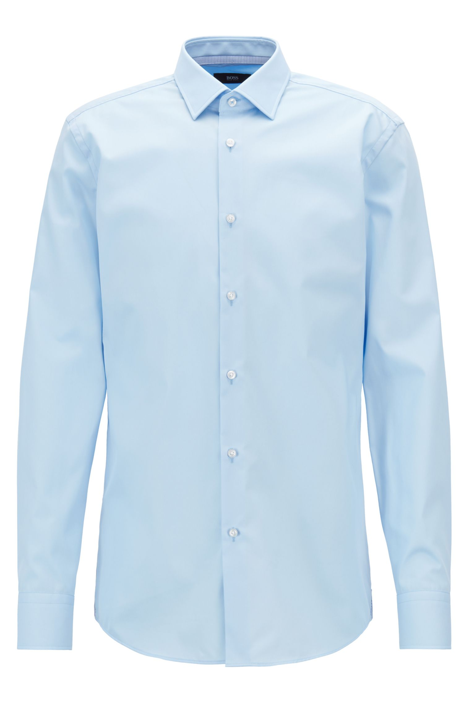 Slim-fit shirt in easy-iron Austrian cotton poplin, Light Blue
