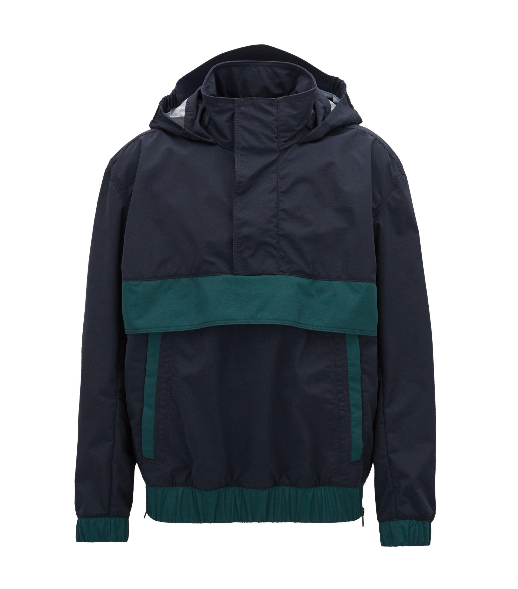 Waterproof overhead jacket in two-layer Italian fabric, Blue