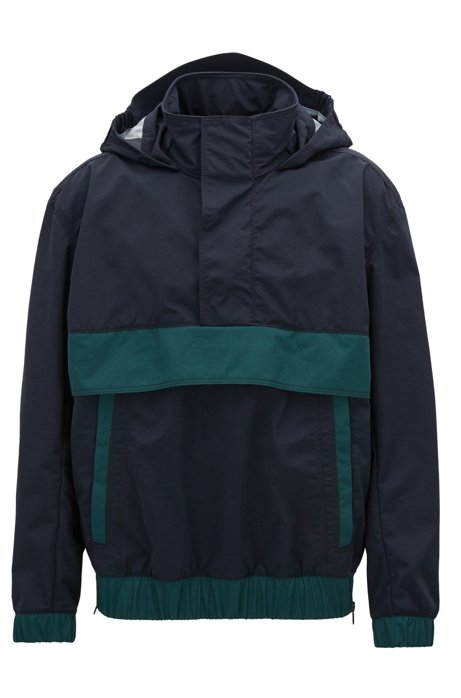Waterproof overhead jacket in two-layer Italian fabric, Blue