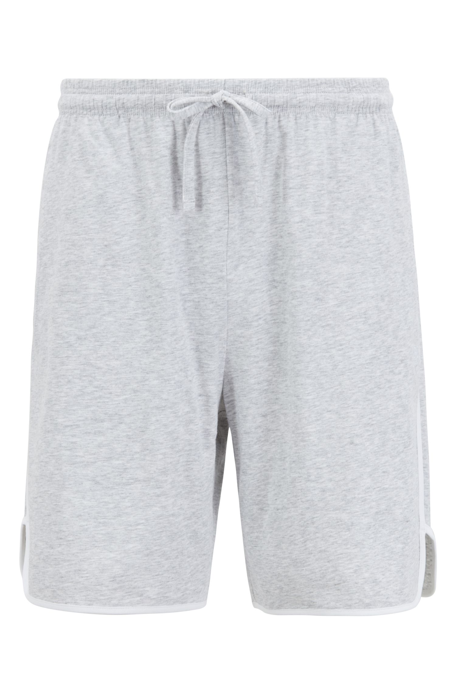 Loungewear shorts in stretch cotton with contrast piping, Grey