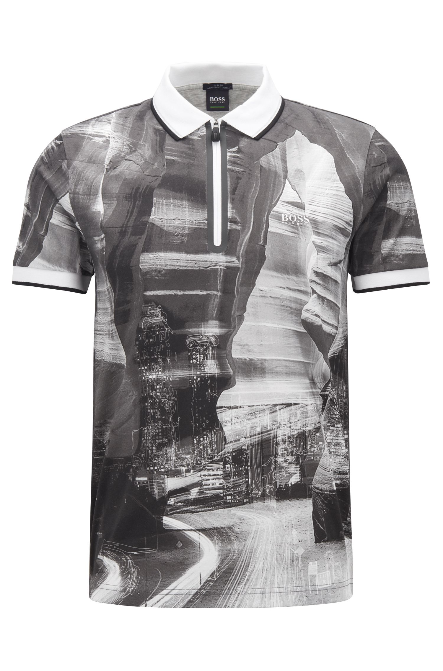 Slim-fit zipper-neck printed polo shirt cotton, Black