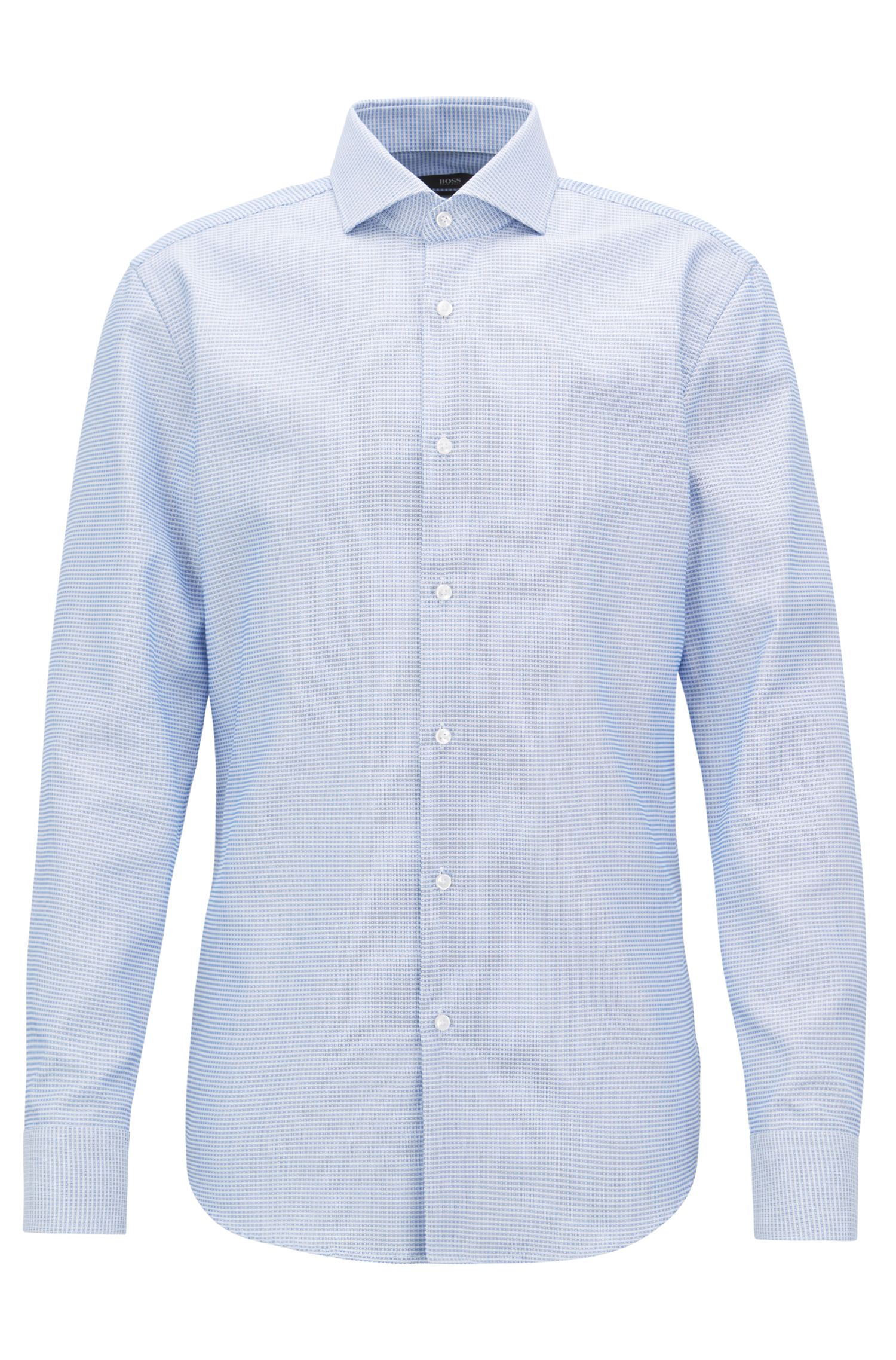 Slim-fit shirt in cotton with Fresh Active finishing, Open Blue