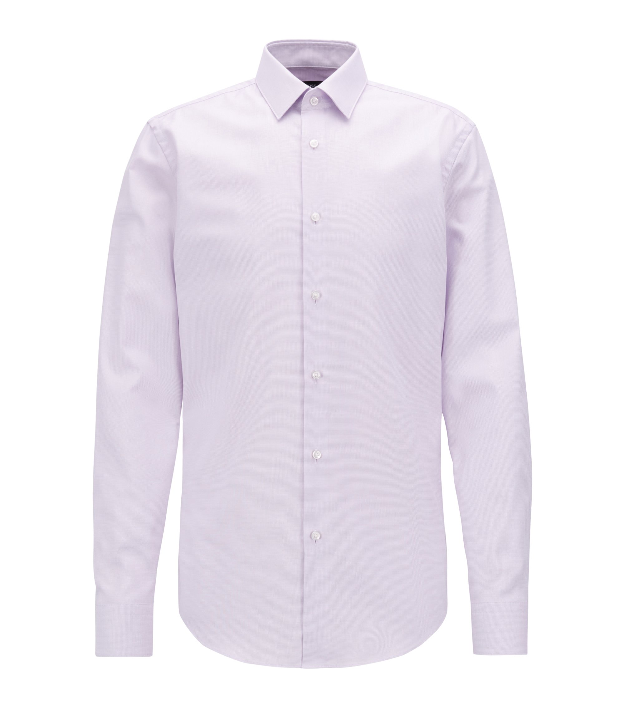 Slim-fit shirt in pure Fresh Active cotton, Light Purple