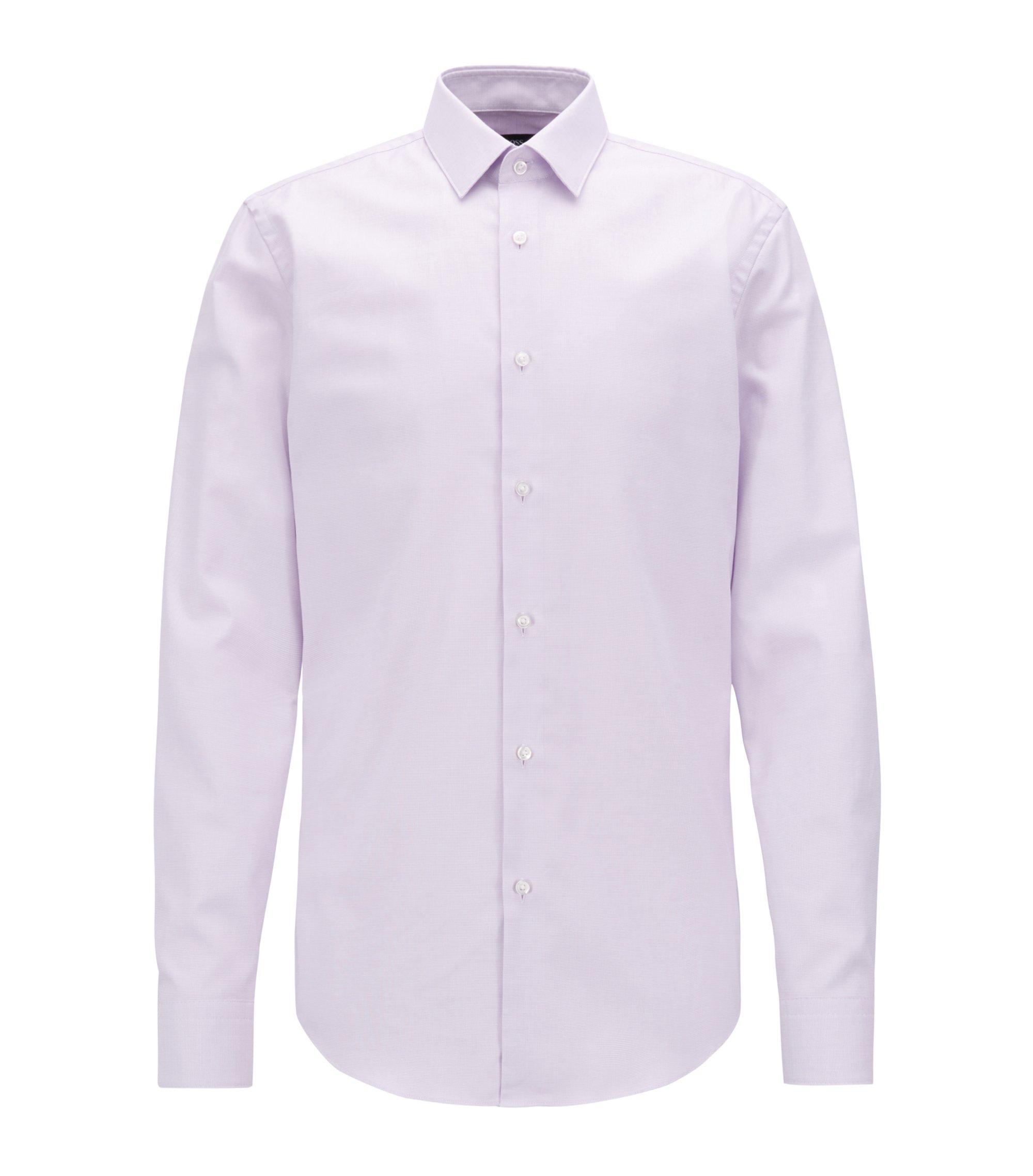 Slim-fit shirt in pure Fresh Active cotton, Light Purple