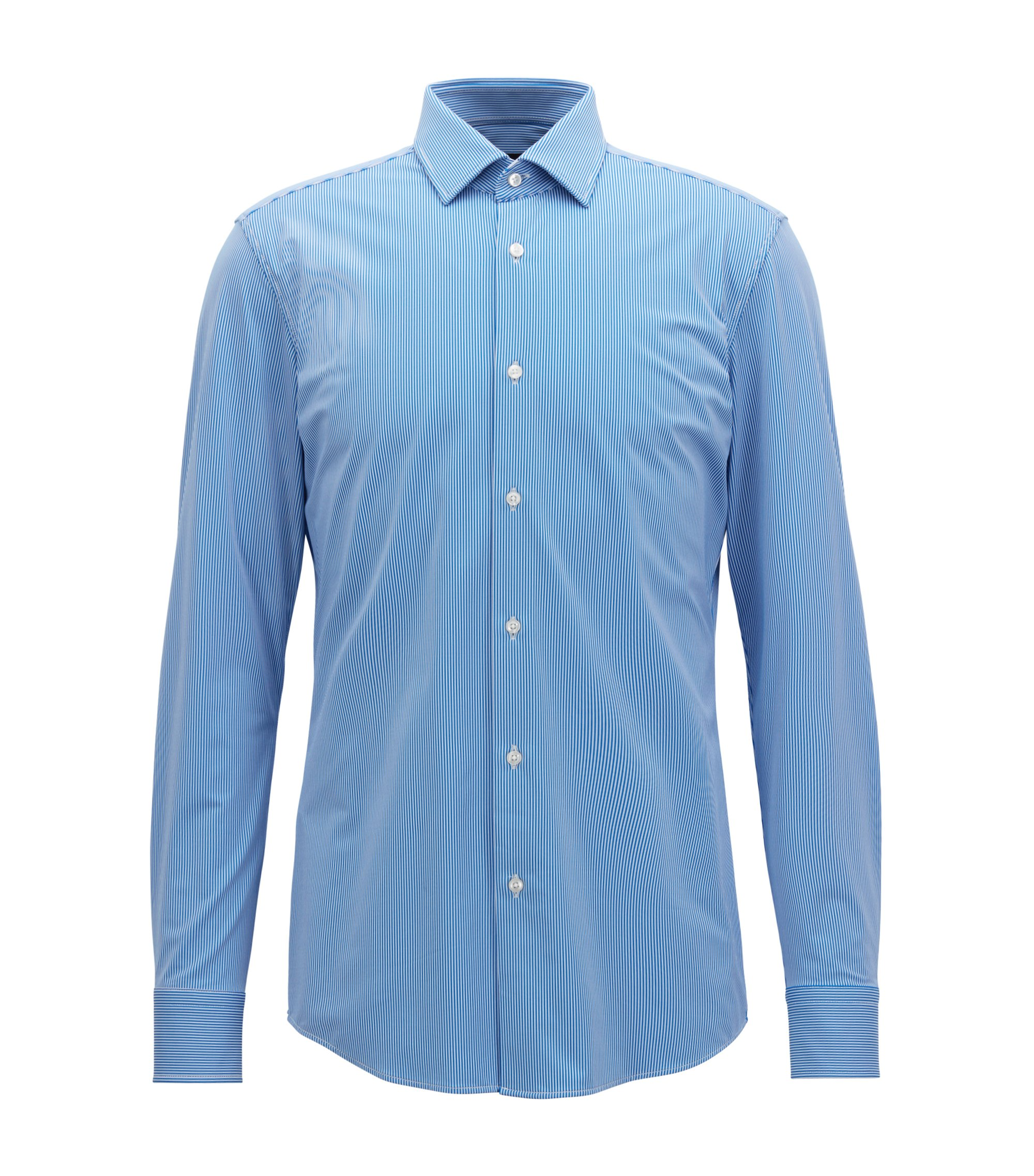 Slim-fit shirt in stretch fabric with moisture management, Blue