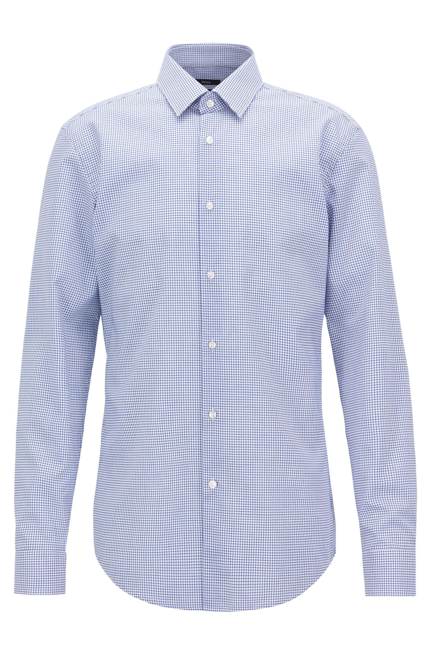 Slim-fit shirt in easy-iron checked cotton poplin, Open Blue