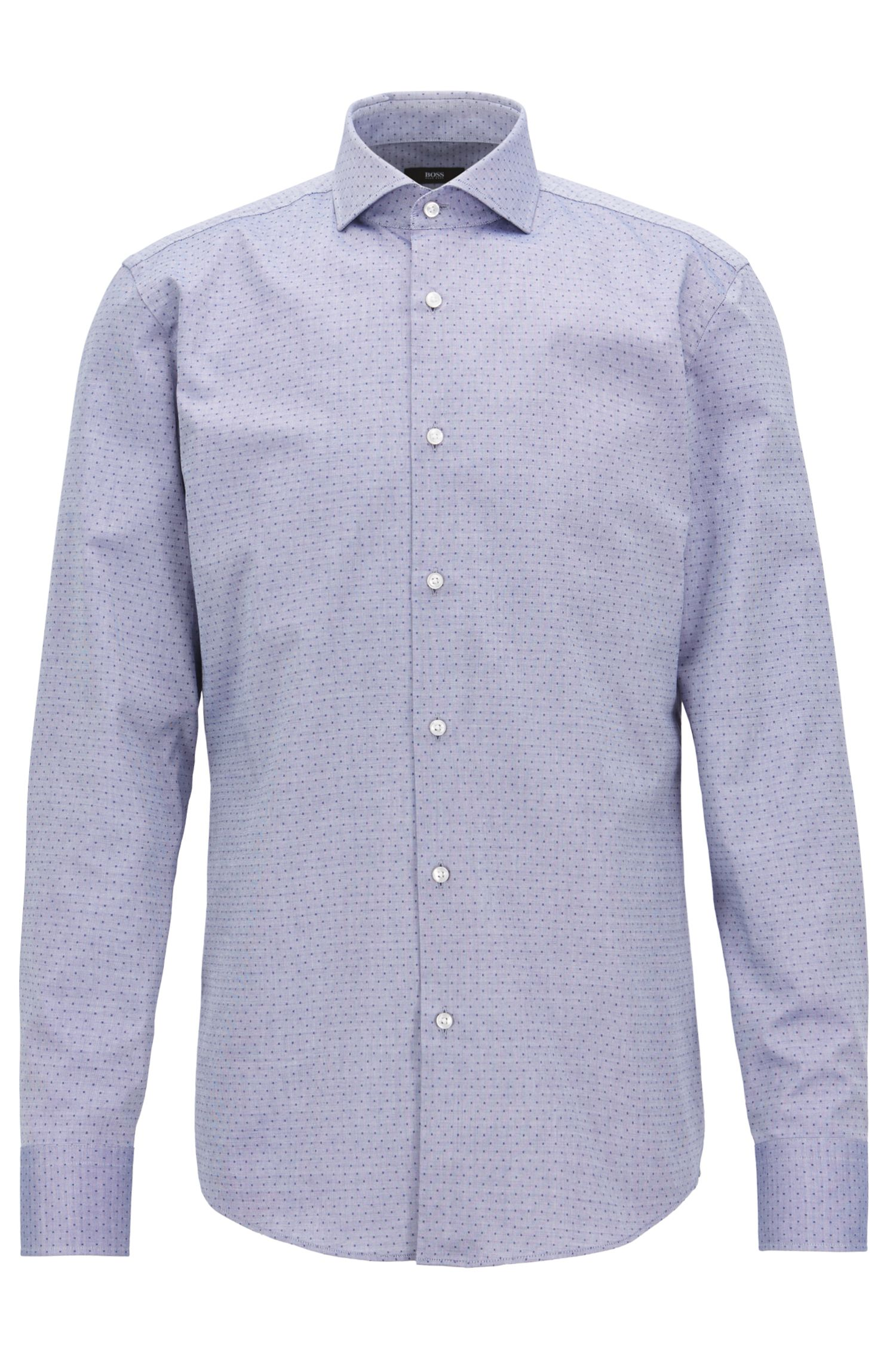 Slim-fit shirt in pinpoint dobby cotton, Dark Blue