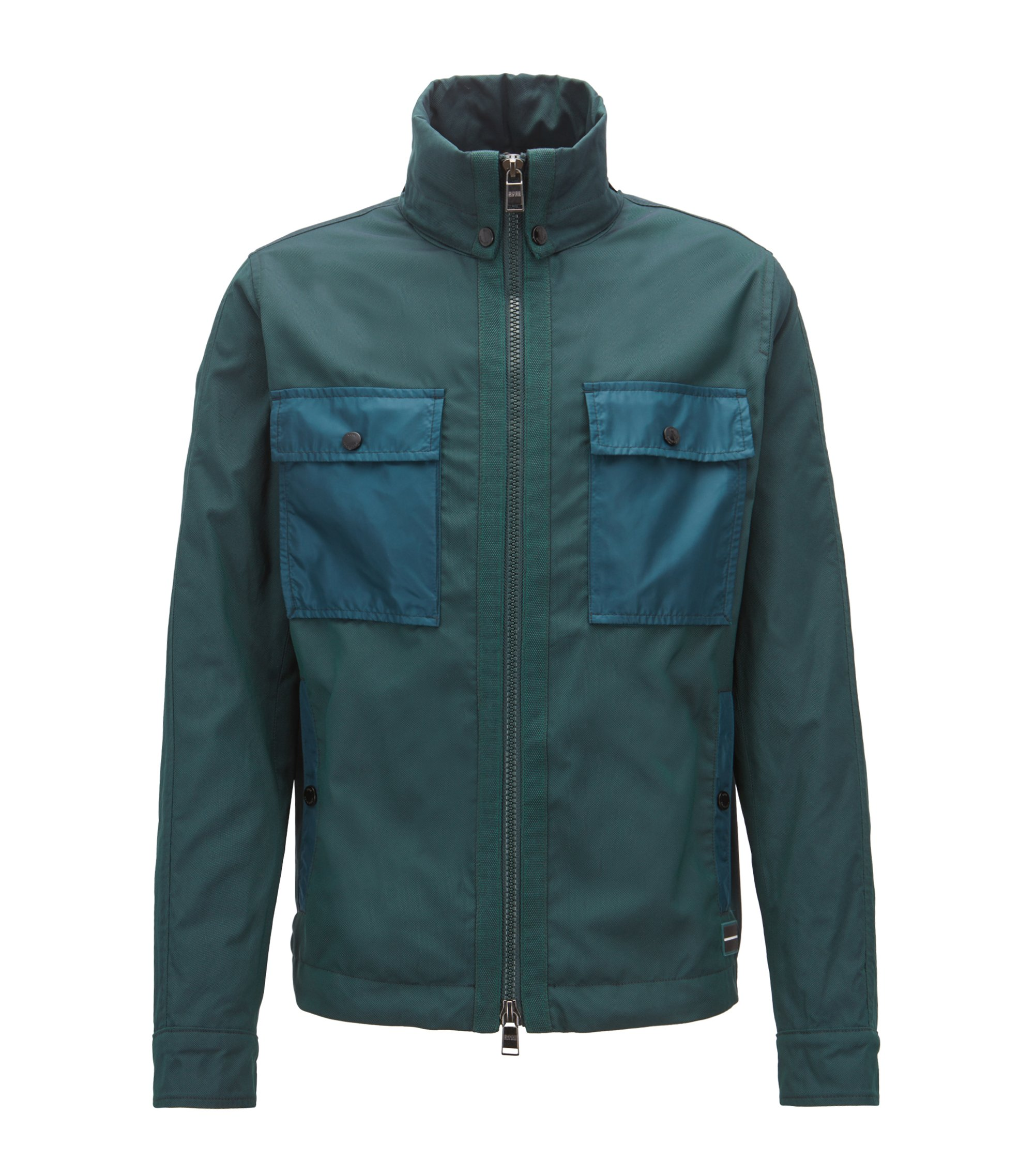 Water-repellent windbreaker jacket with stowaway hood, Dark Green
