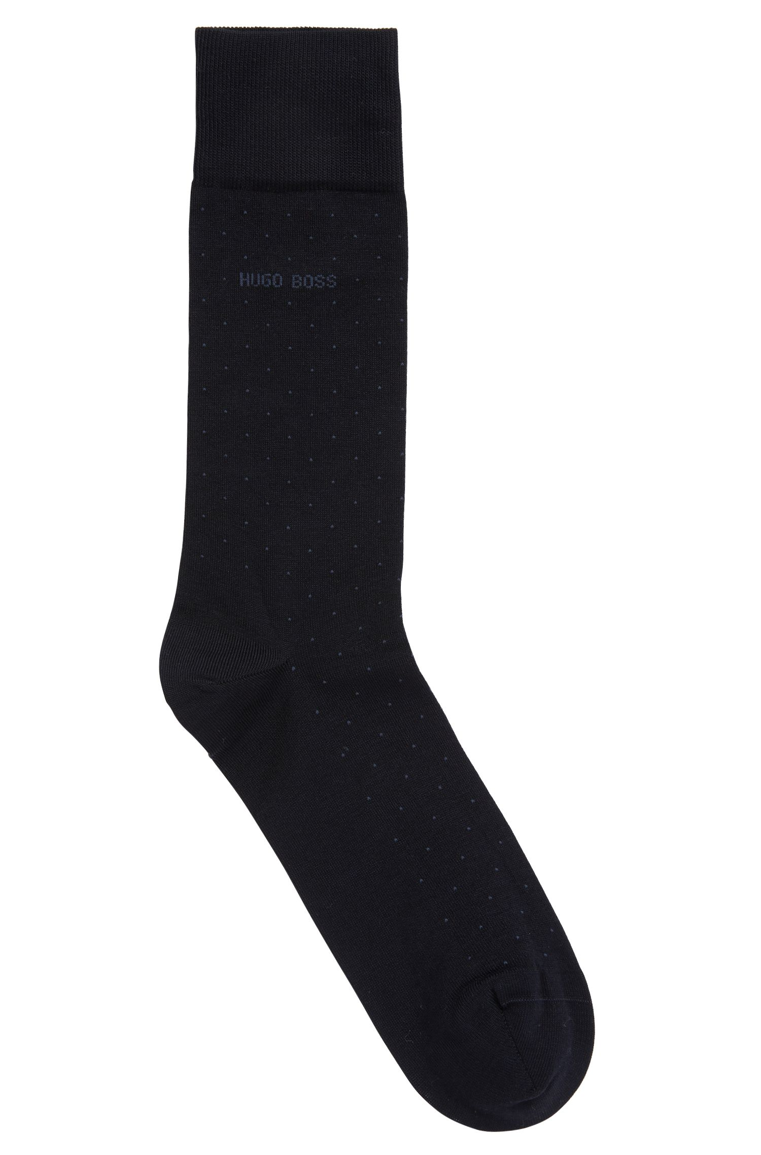 Regular-length patterned socks in a mercerized cotton blend, Dark Blue