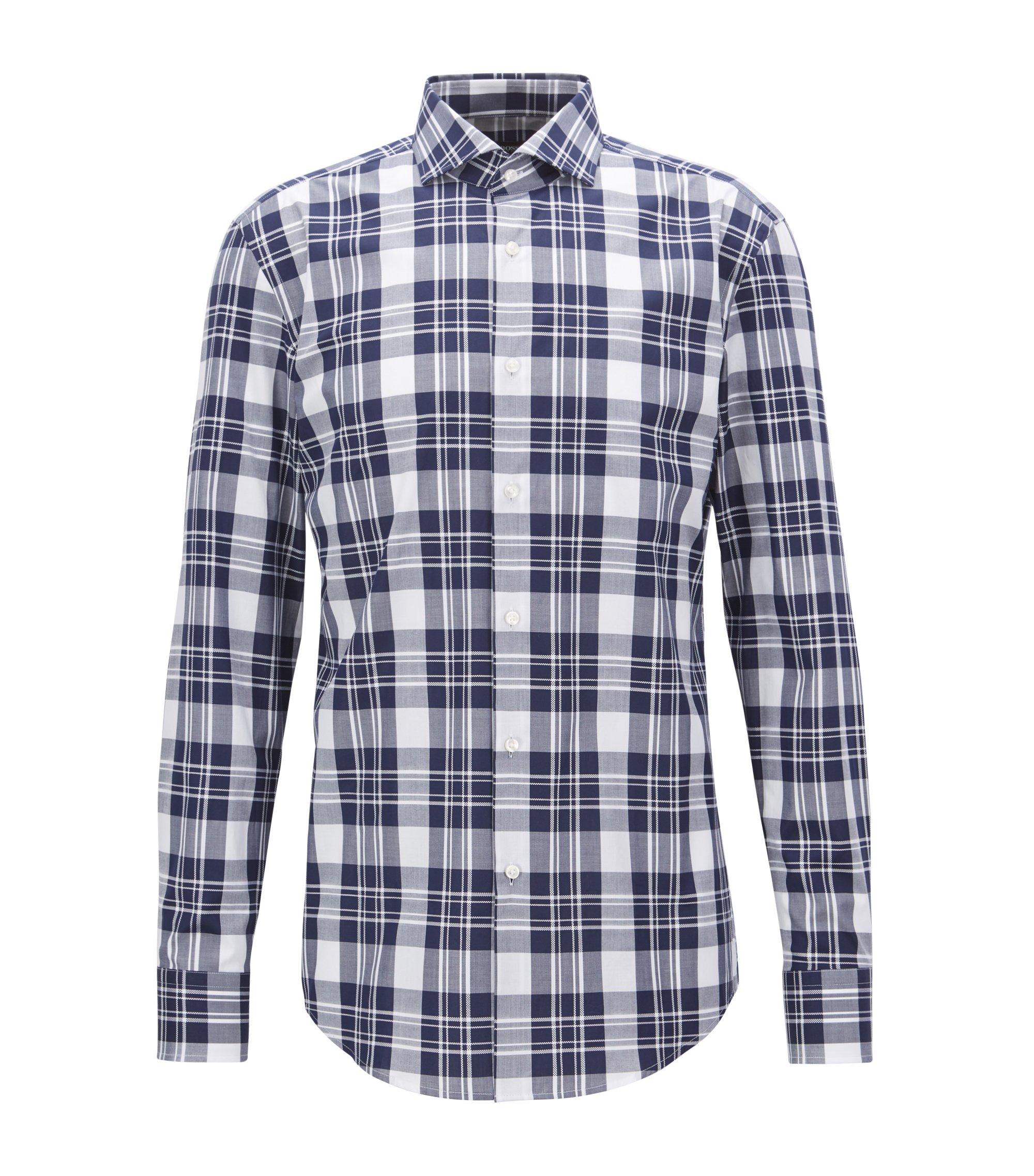 Italian-made shirt in cotton poplin with Glen check, Dark Blue