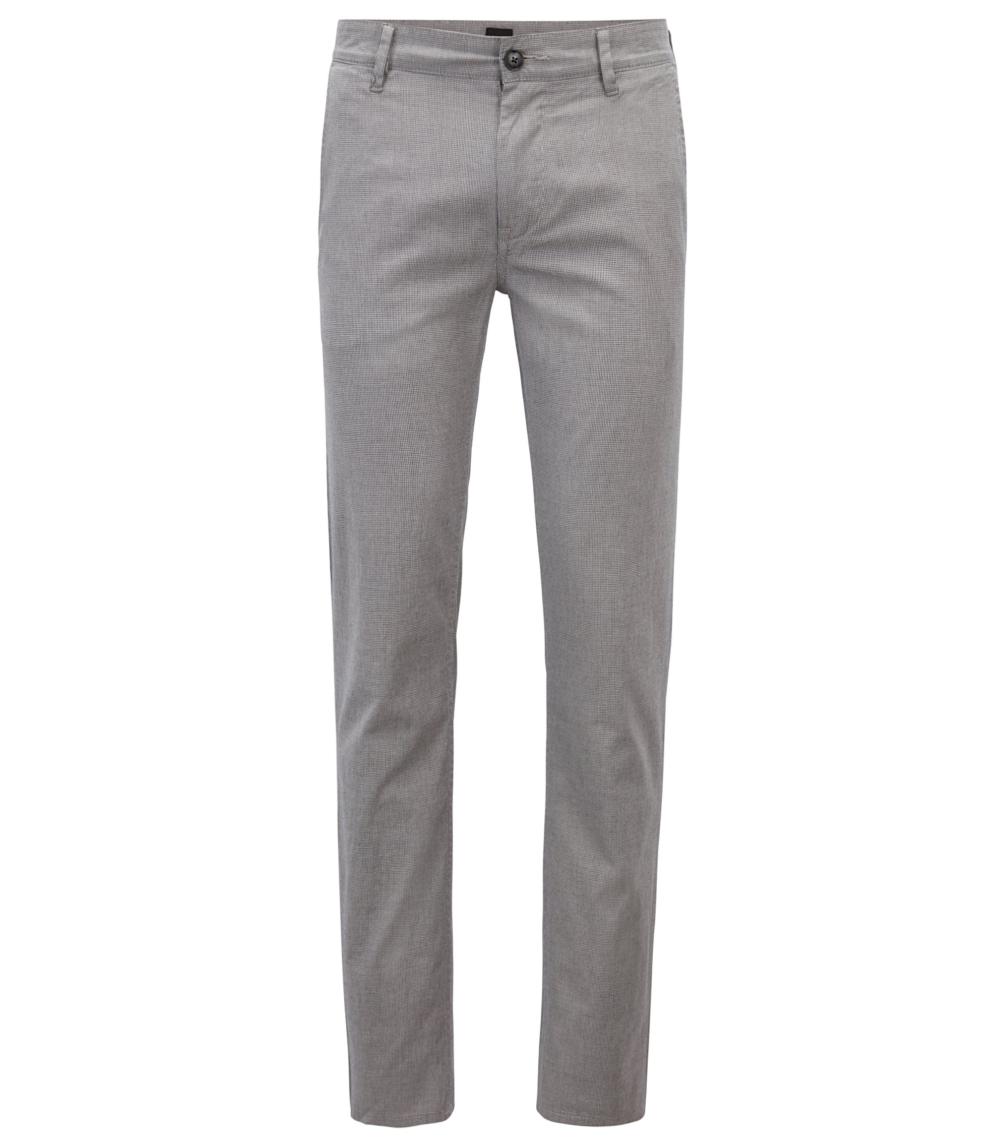 Slim-fit chinos in micro-pattern stretch cotton, Black