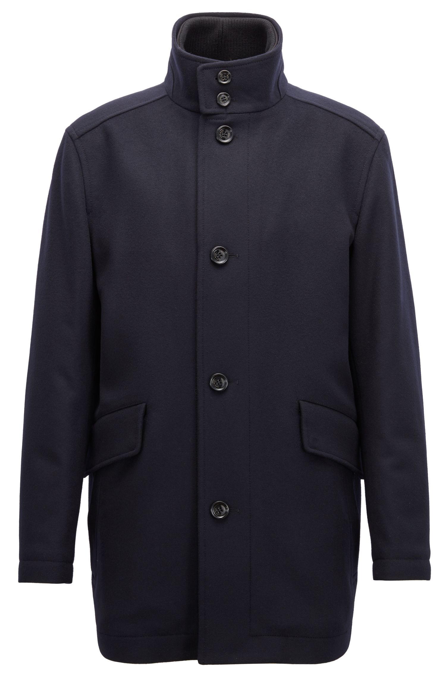 Relaxed-fit car coat in virgin wool and cashmere, Dark Blue