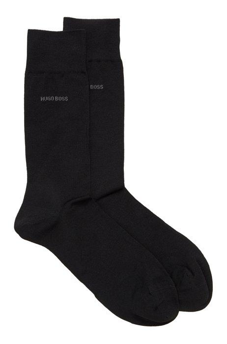 Two-pack of regular-length socks with mercerized Egyptian cotton, Black