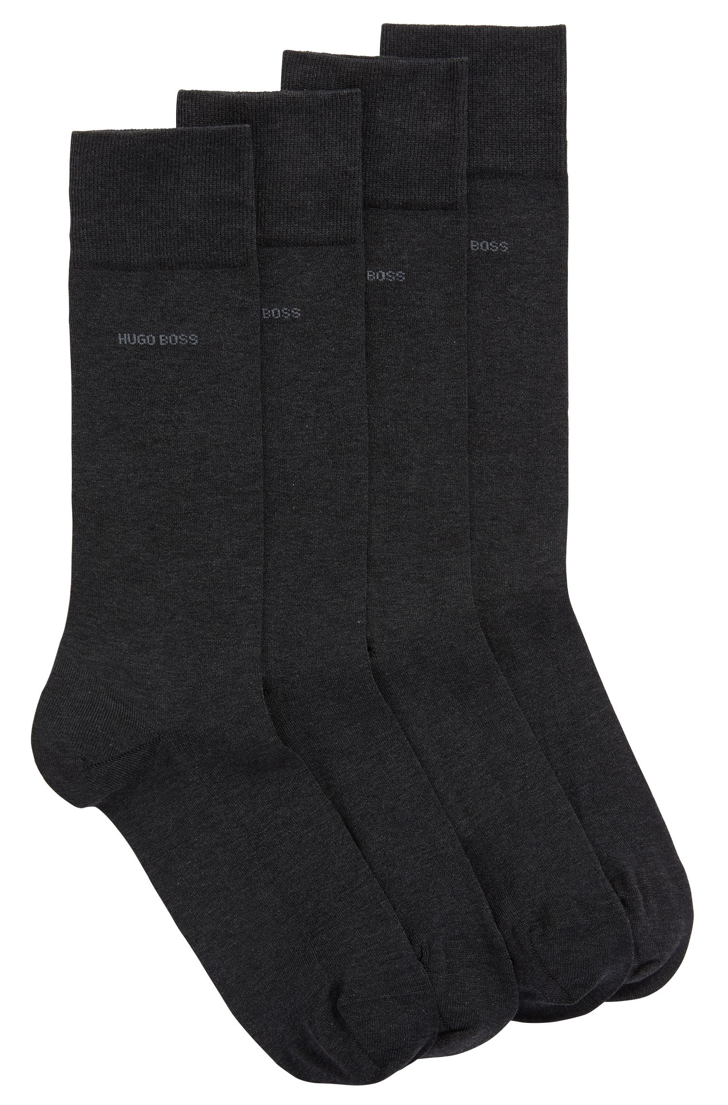 Two-pack of regular-length socks with mercerised Egyptian cotton, Charcoal