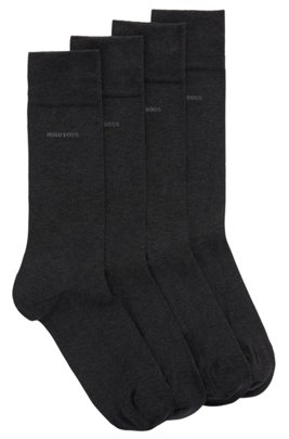 Two-pack of regular-length socks with mercerised Egyptian cotton, Dark Grey