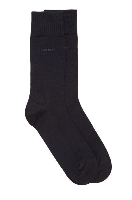 Two-pack of regular-length socks with mercerized Egyptian cotton, Dark Blue