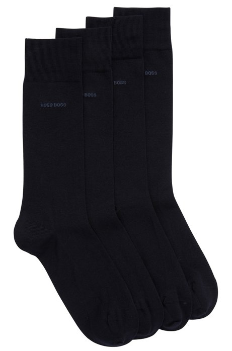 Two-pack of regular-length socks with mercerised Egyptian cotton, Dark Blue