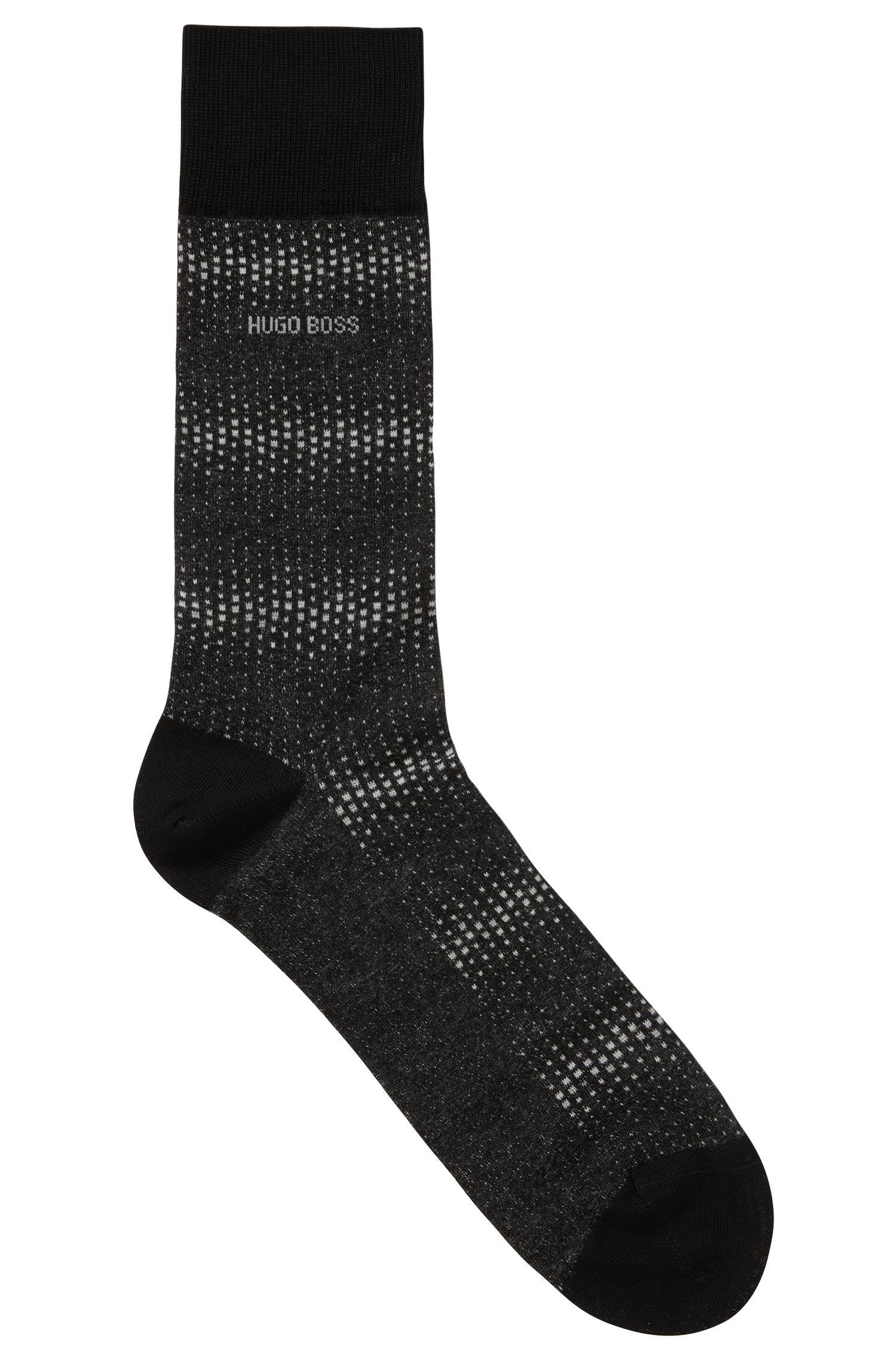 Micro-pattern socks in mercerized stretch cotton