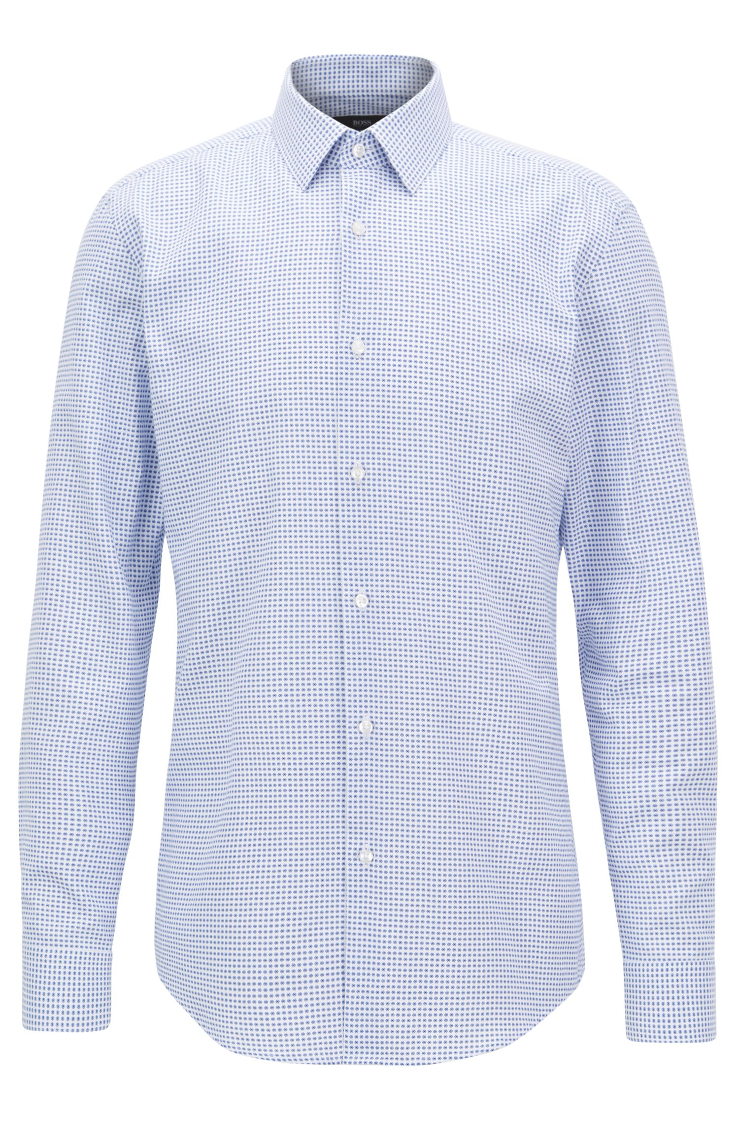 Slim-fit shirt in geometric-print Italian-made cotton