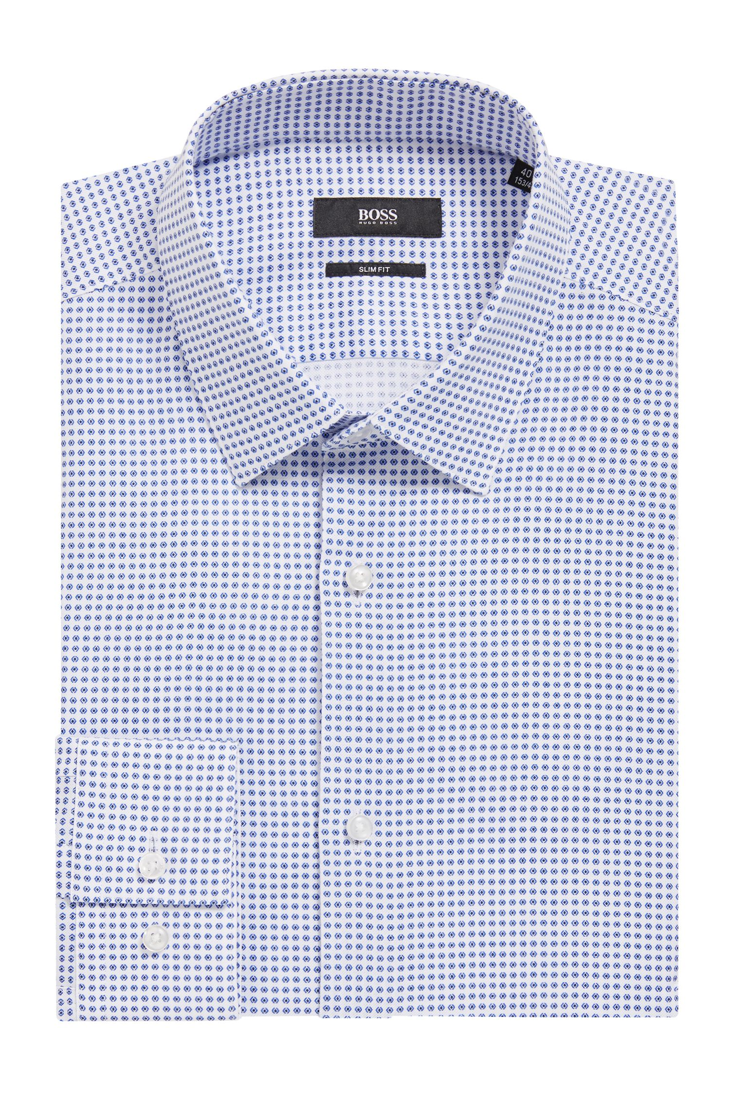 Slim-fit shirt in geometric-print Italian-made cotton, Open Blue