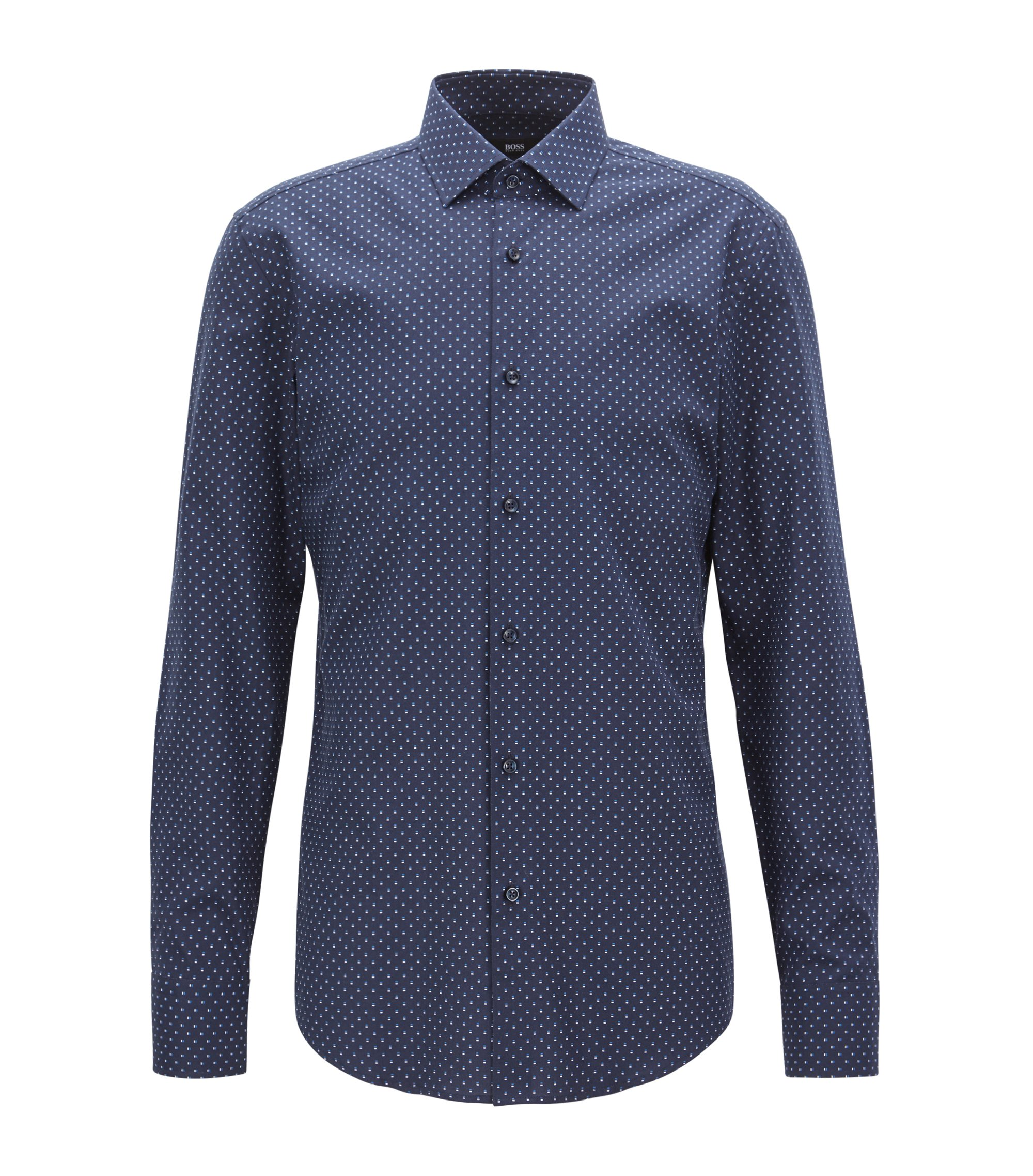 Slim-fit shirt in all-over-motif Italian cotton, Dark Blue