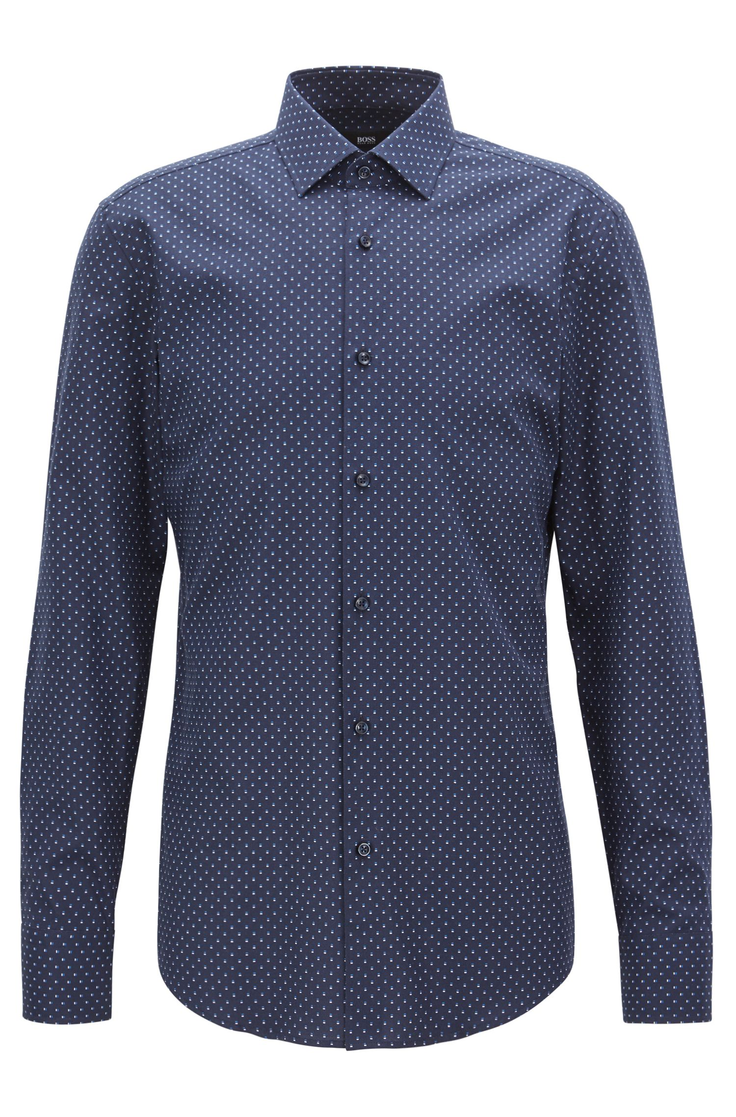 Slim-fit shirt in all-over-motif Italian cotton