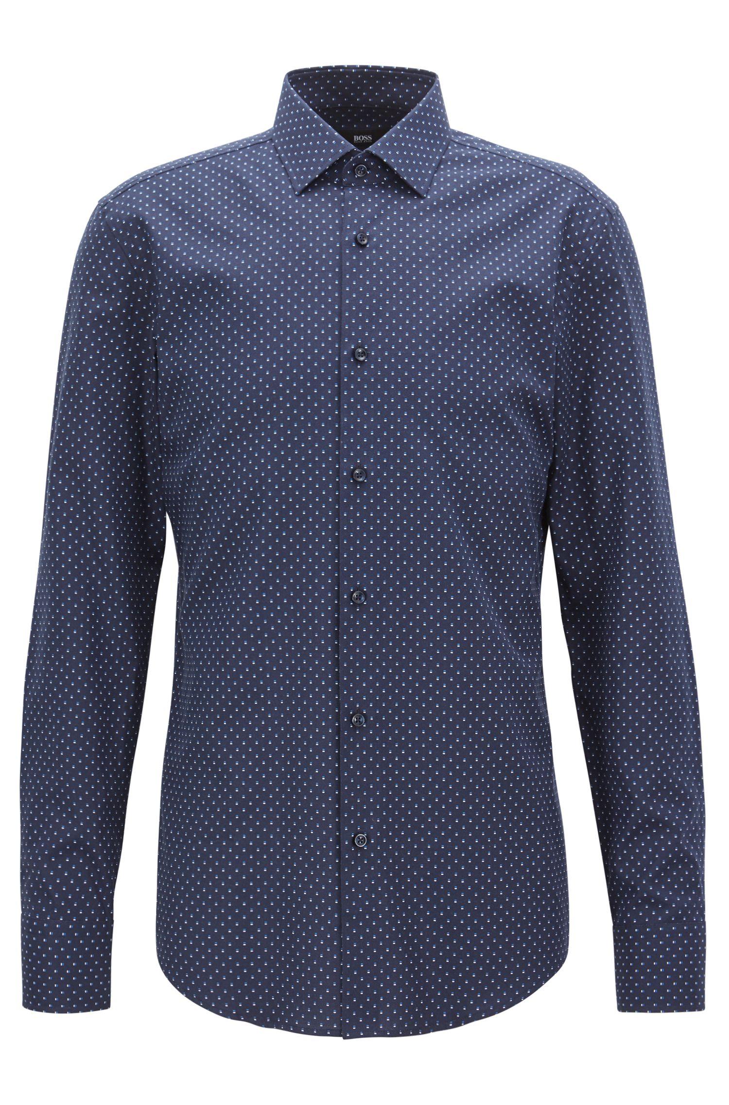 Slim-fit shirt in all-over-motif Italian cotton, Dark Blue