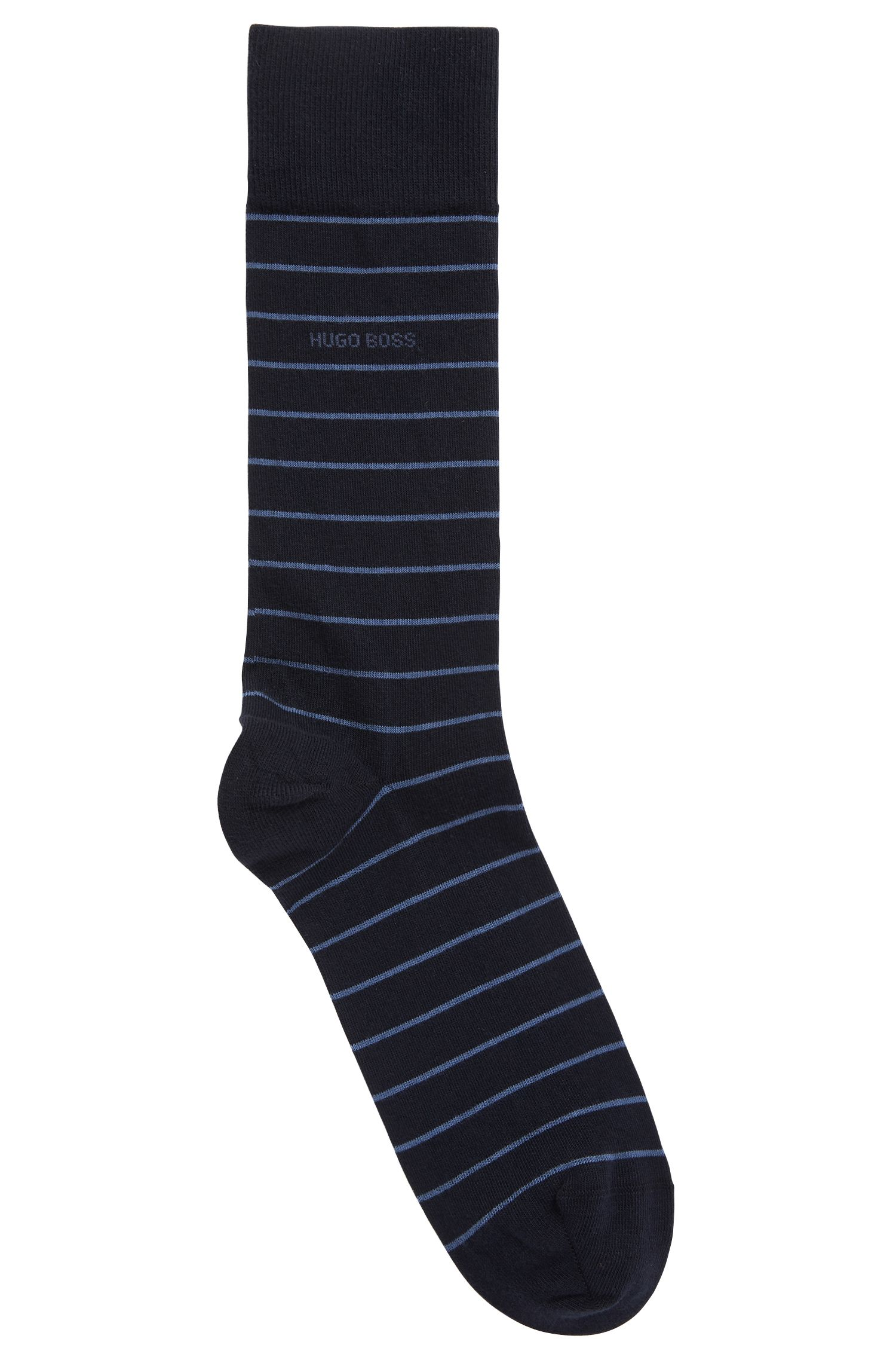 Striped socks in a combed-cotton blend with stretch, Dark Blue